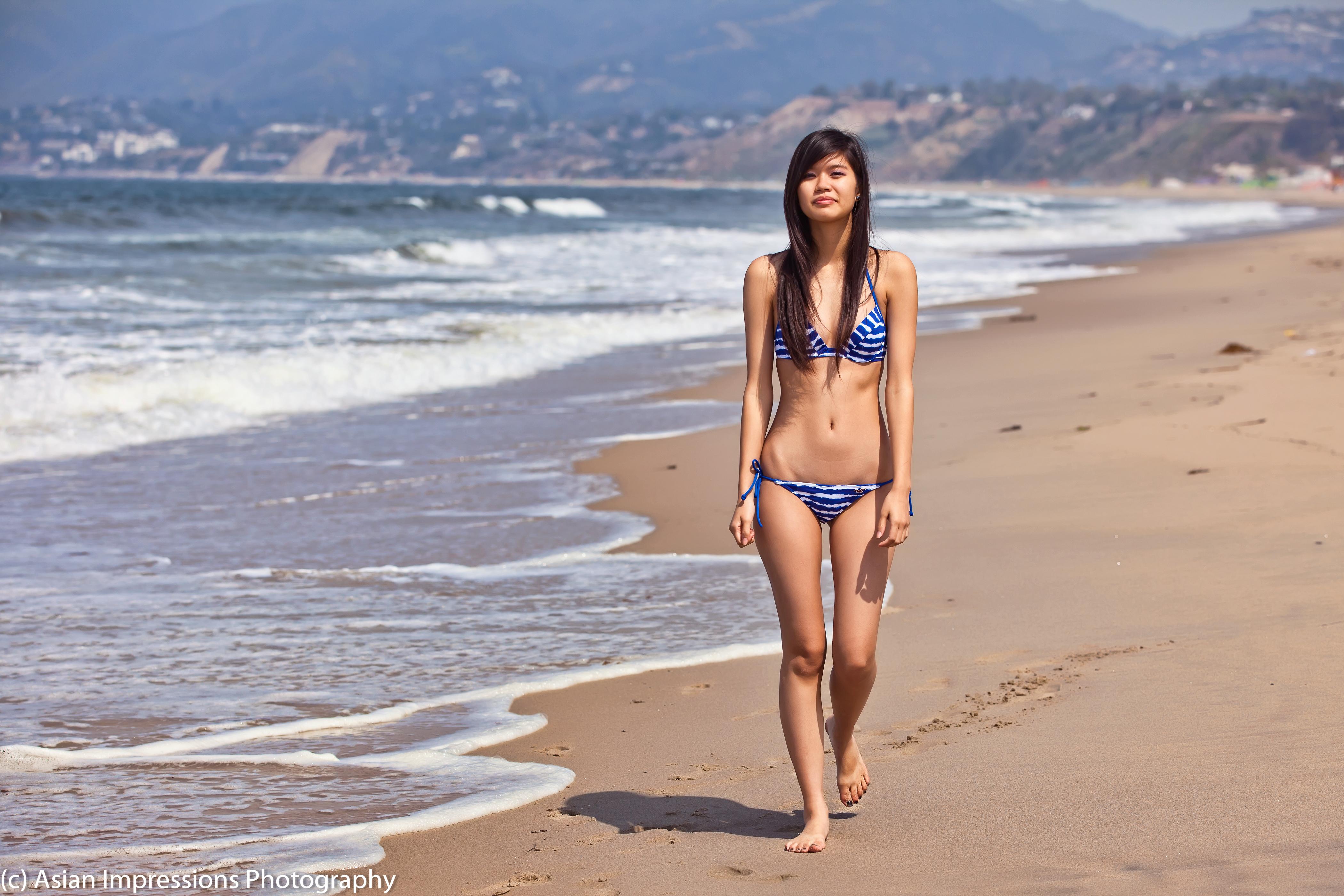 Outdoor asian wife bikini