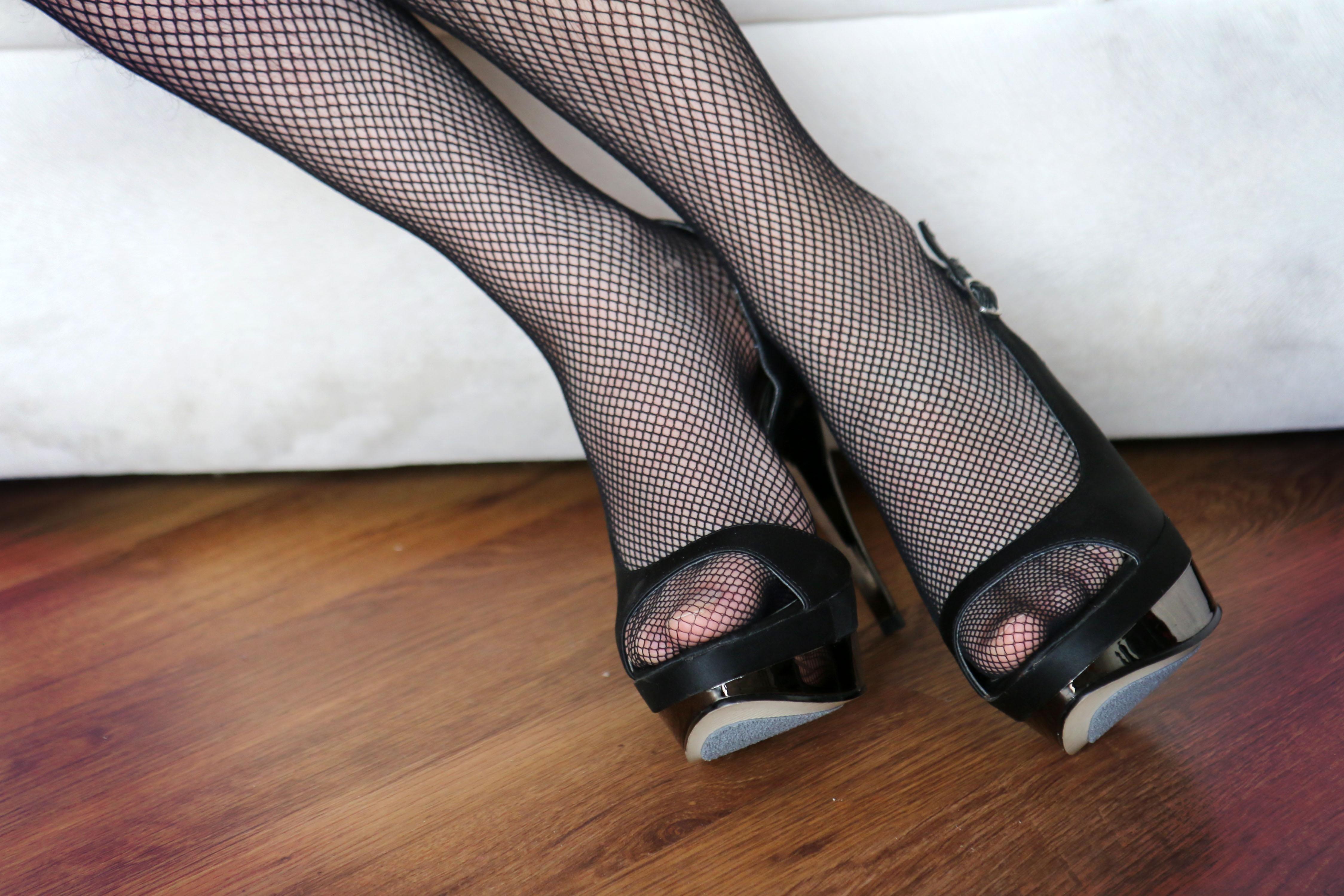 Peep toe heels nylons fetish pics