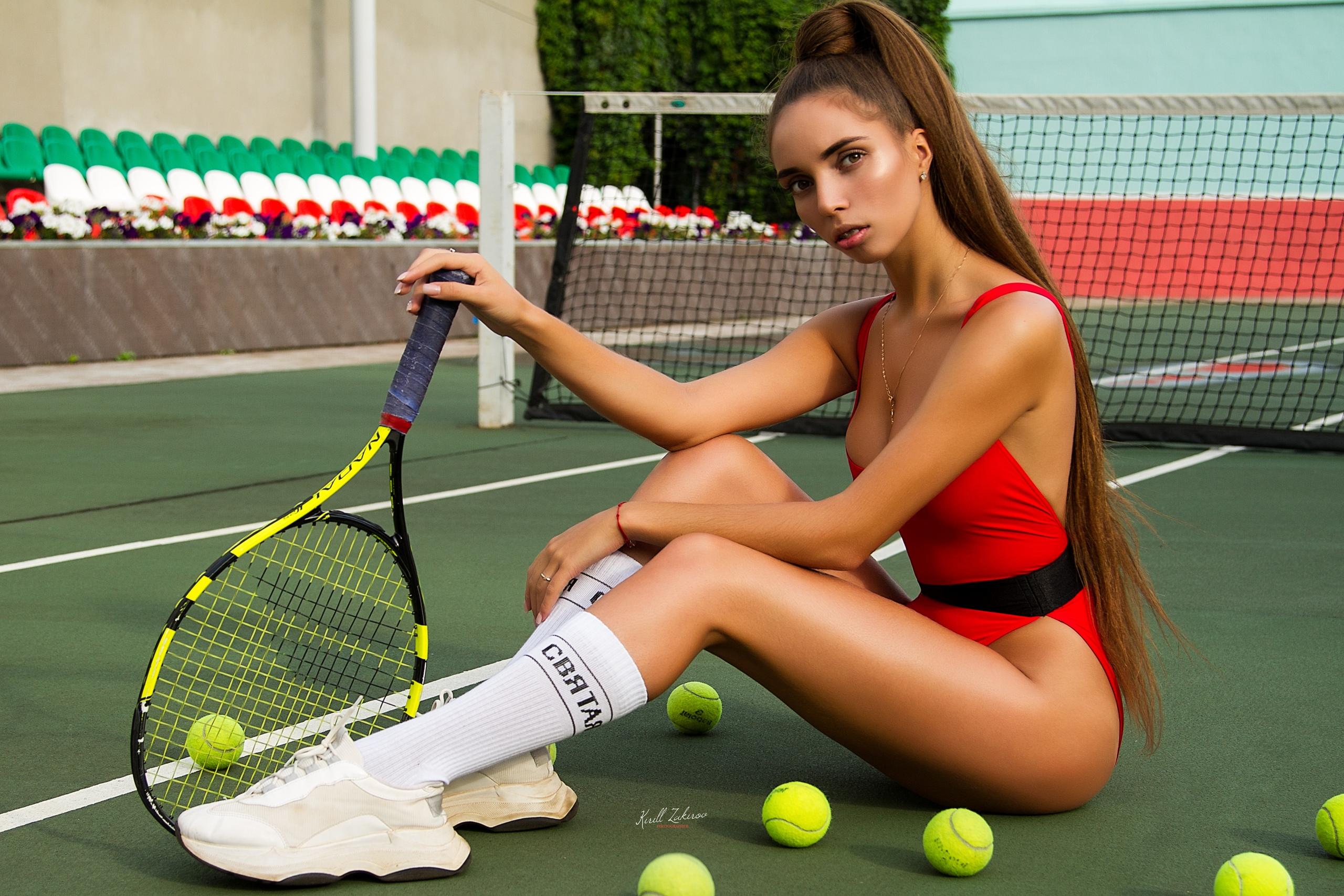 Wallpaper : women, Anna Vatslovna, tanned, tennis balls, tennis rackets,  long hair, sitting, white stockings, sneakers, braces, leotard, sportswear  2560x1707 - Motta123 - 1454709 - HD Wallpapers - WallHere