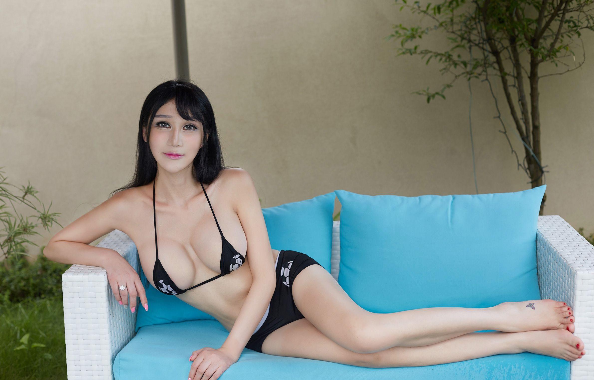 Wallpaper  Women, Asian, Couch, Bikini Top, Portrait -8259