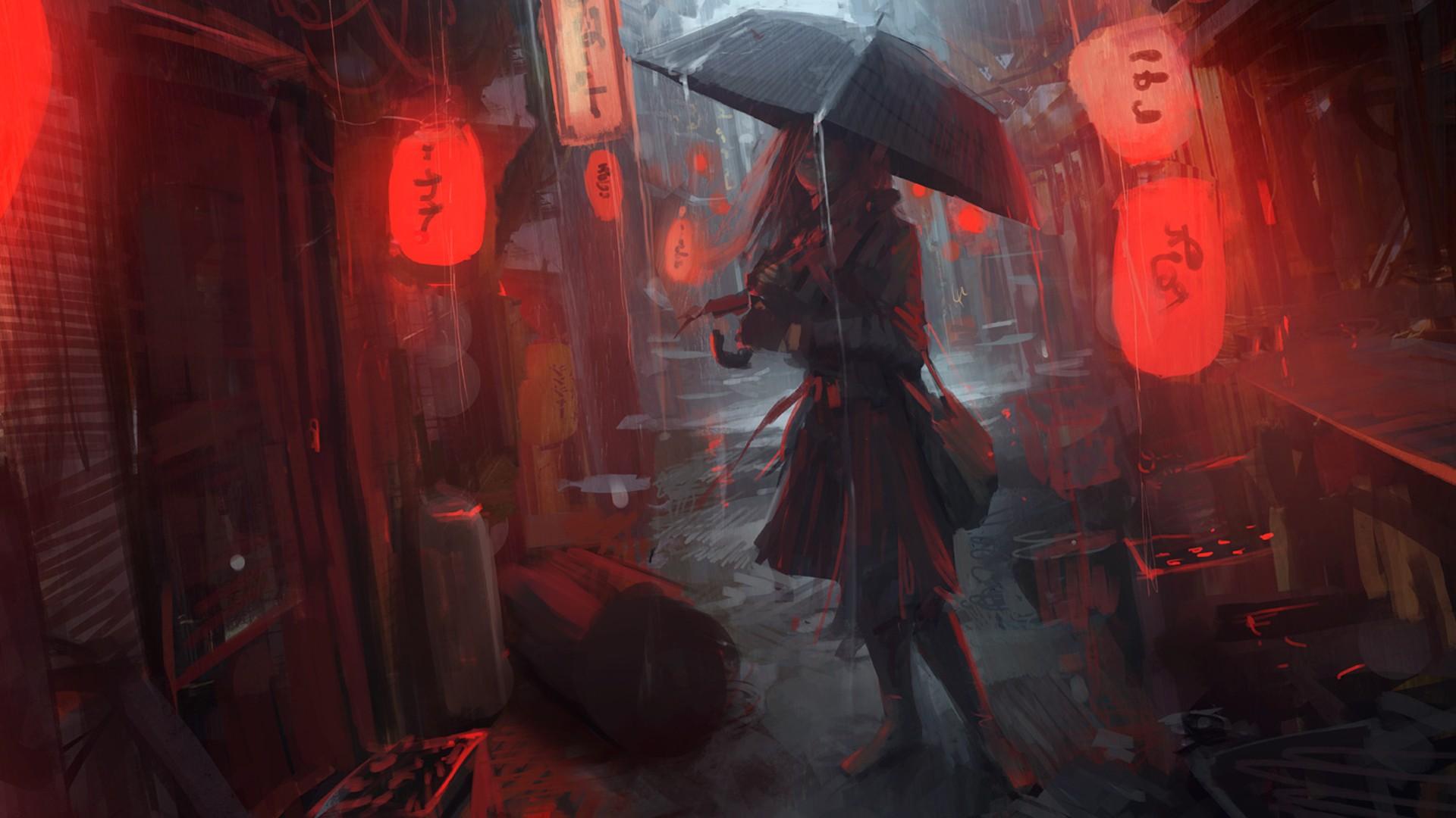 Women Anime Girls Red Artwork Umbrella Lantern Japanese Midnight Oldboy Darkness Screenshot Computer Wallpaper Pc Game