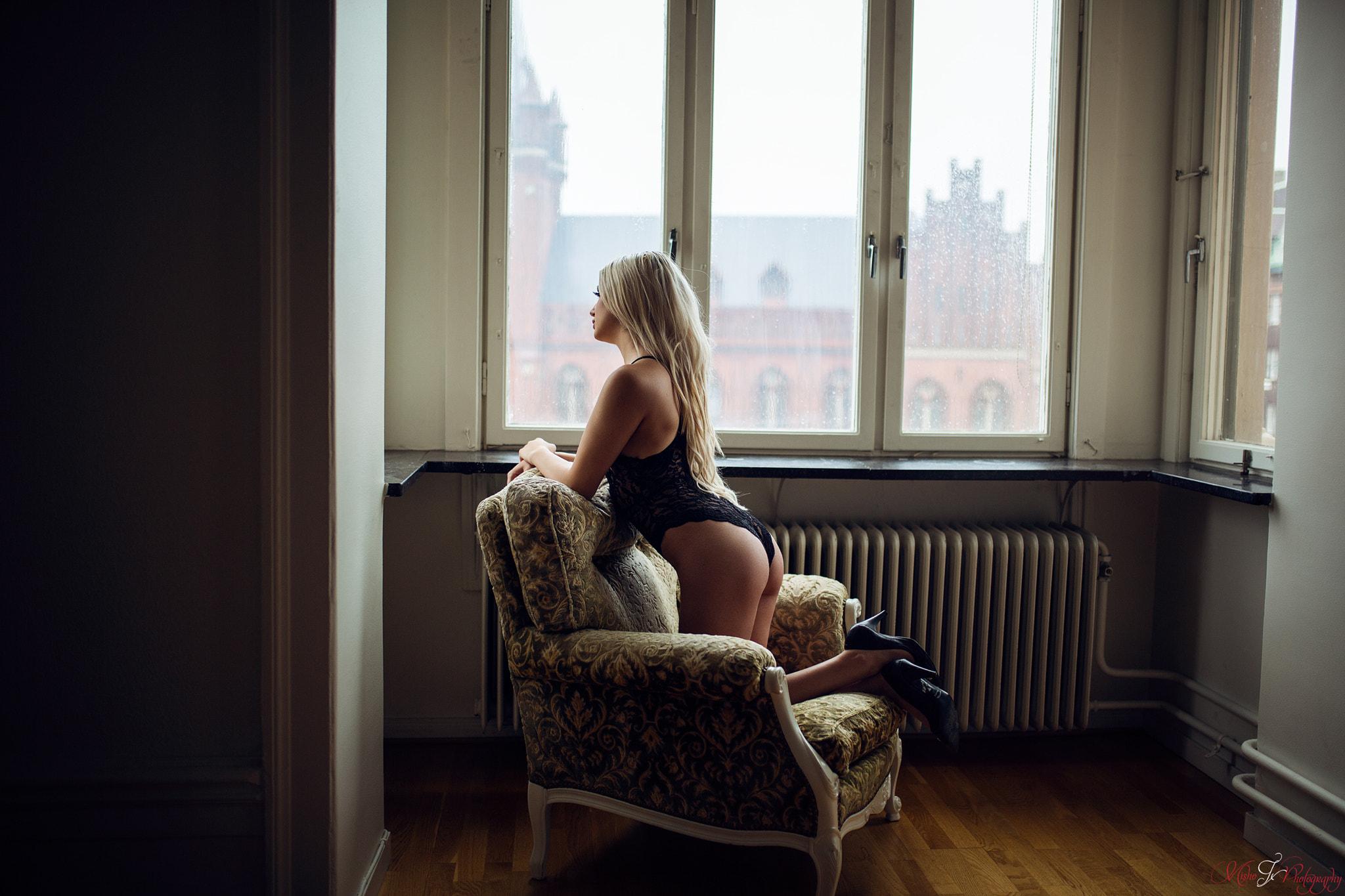 cleavage, stockings, girl, lingerie, Elle Liberachi, black