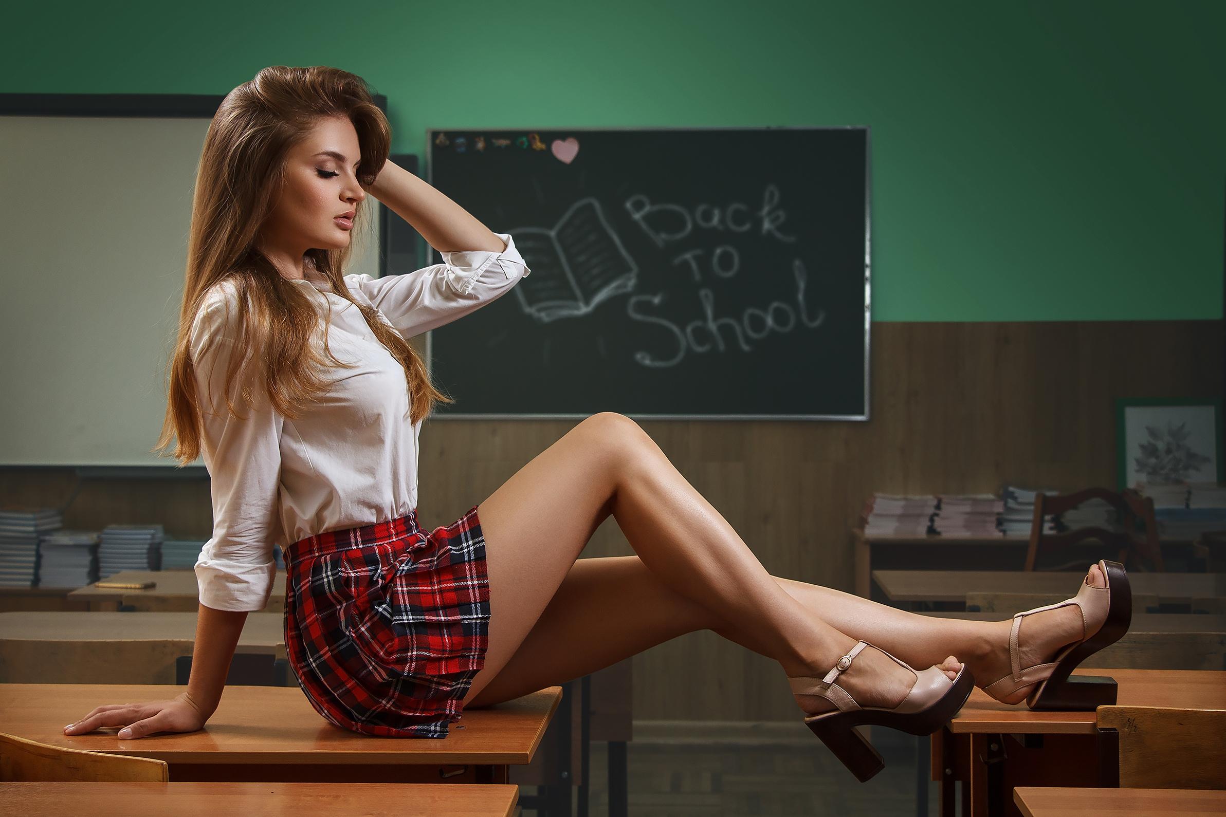 827902f87a women blonde portrait white shirt plaid skirt schoolgirl uniform sitting  closed eyes high heels