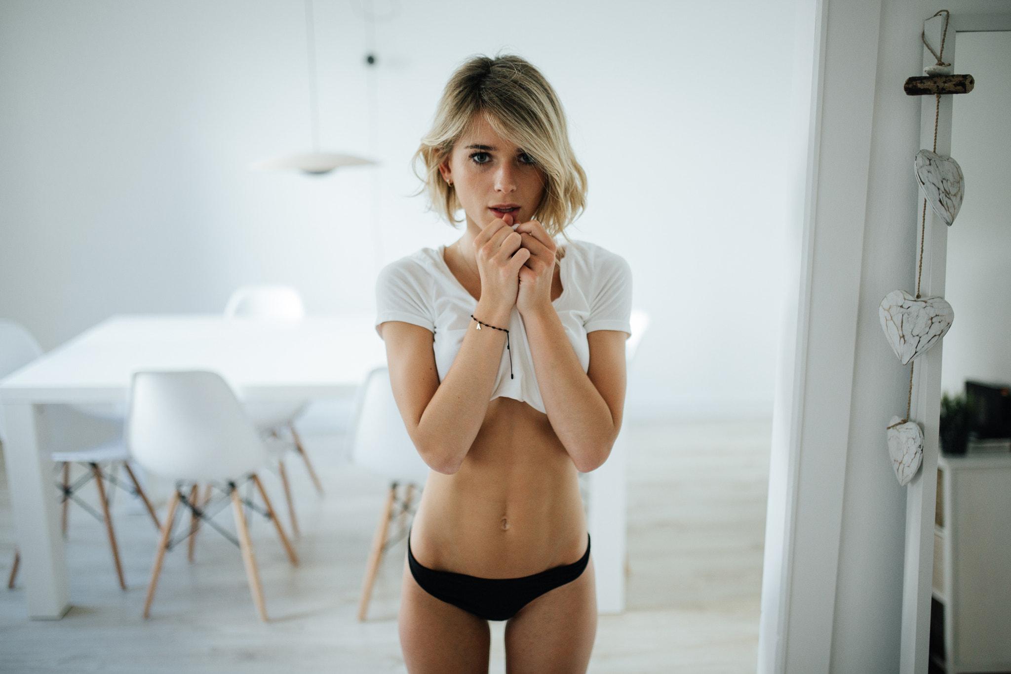 Blonde in black panties