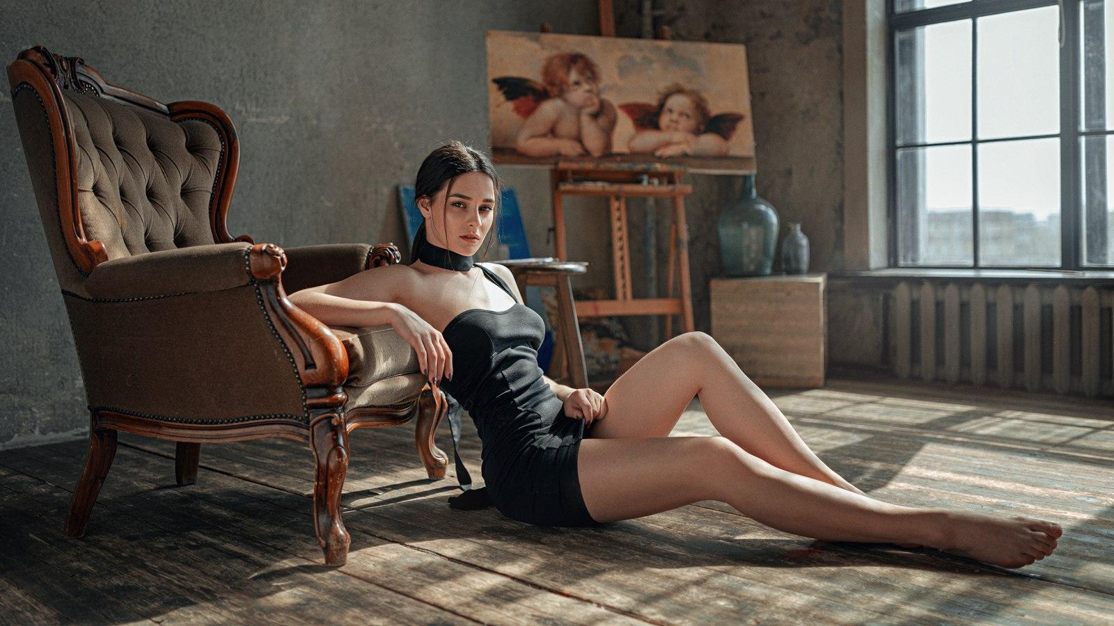 Wallpaper Women Brunette On The Floor Minidress Legs