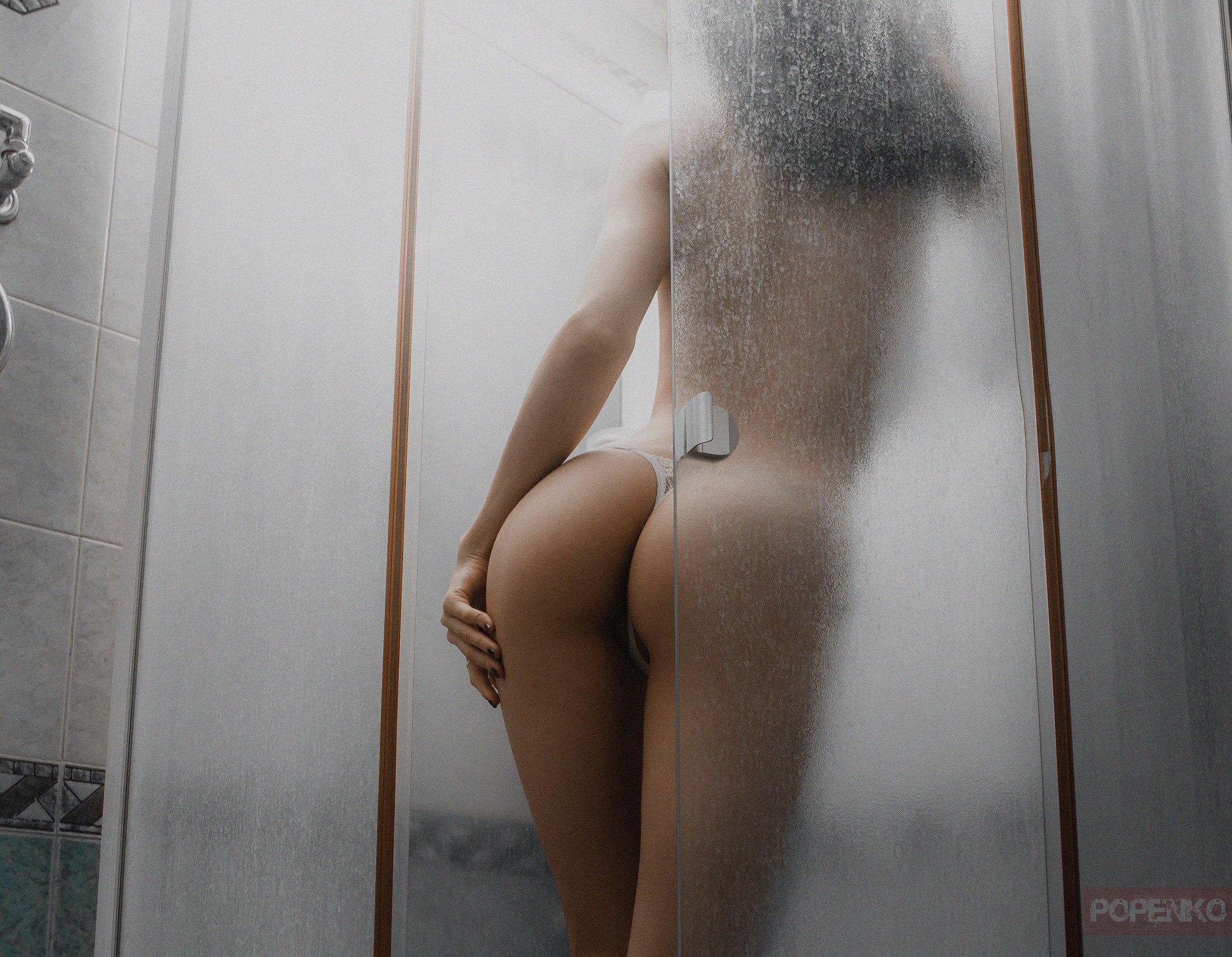 Panties bathroom brunette woman
