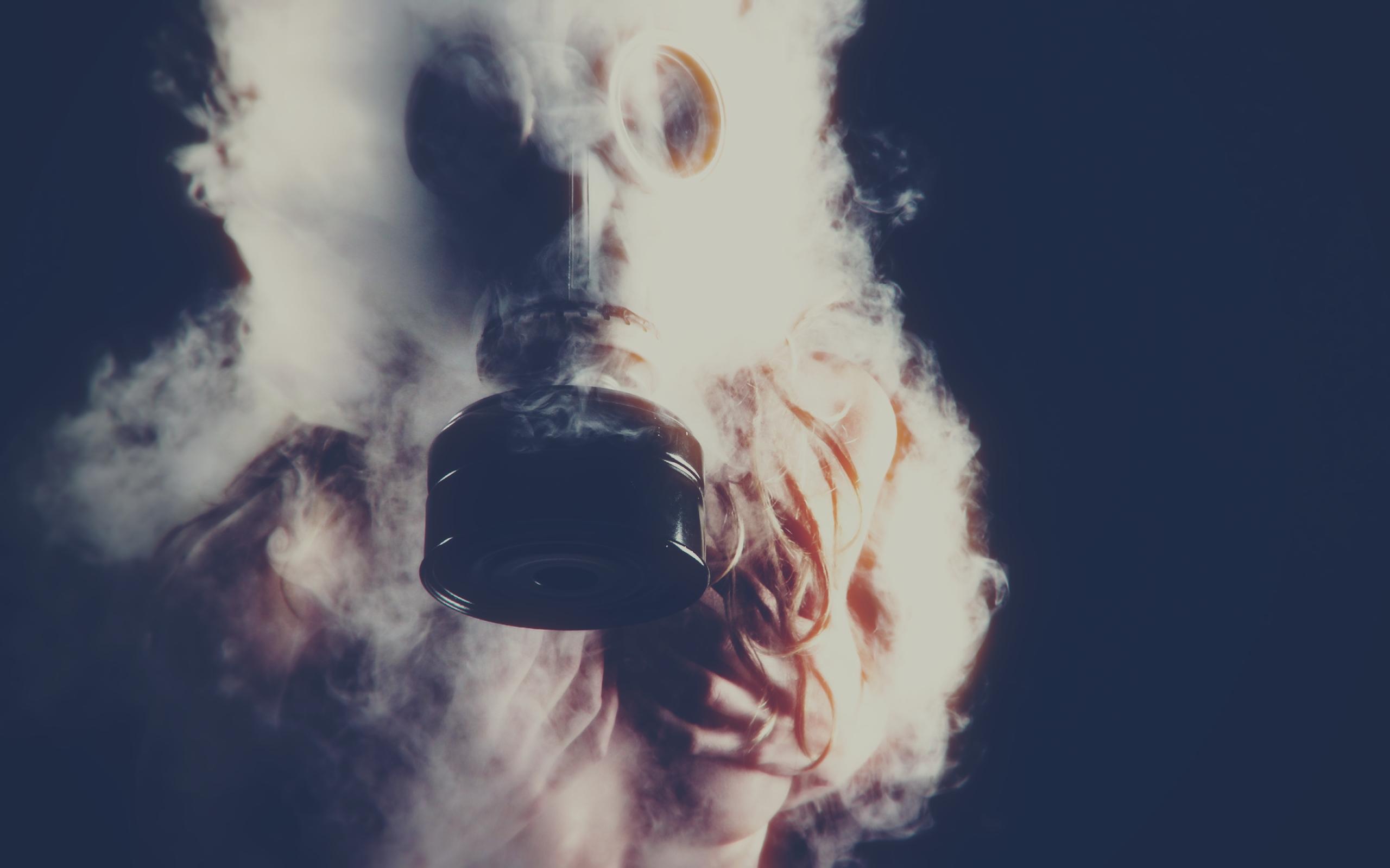 wallpaper : women, dark, gas masks, sky, smoke, blue, color, cloud