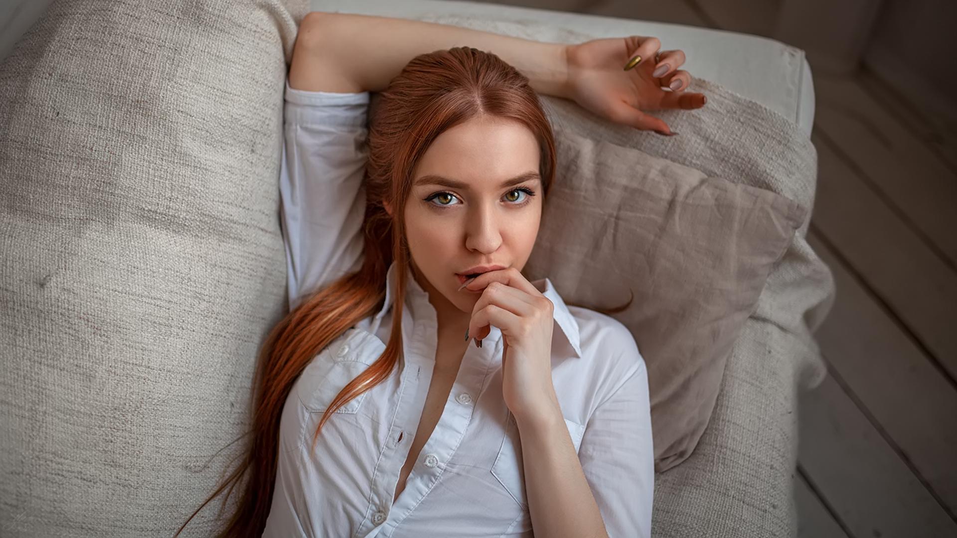 Wallpaper : Women, Face, Portrait, Redhead, White Shirt