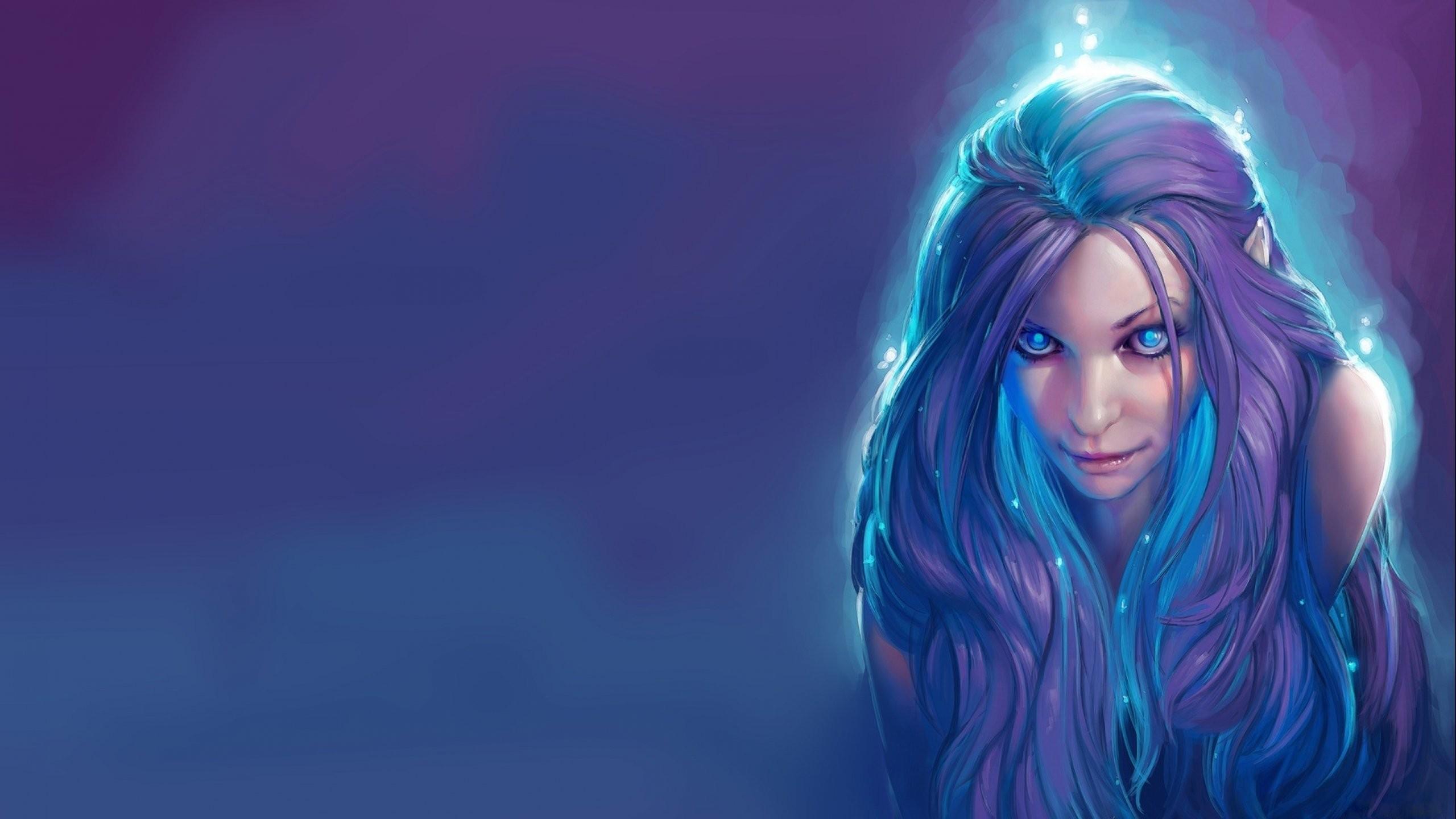 Fantasy Art Elves Wallpapers Hd Desktop And Mobile: Wallpaper : Women, Fantasy Art, Anime, Blue Hair, Artwork
