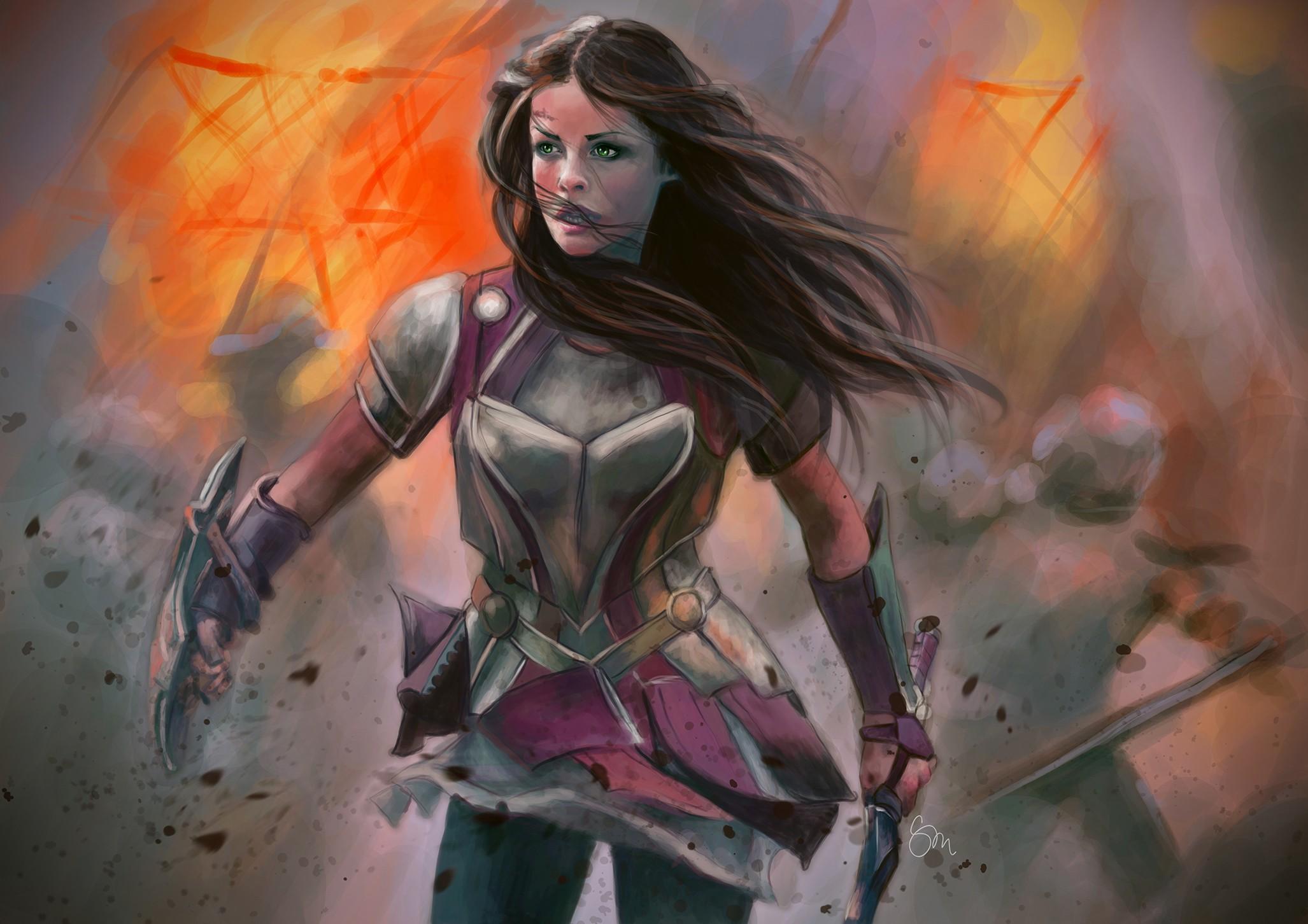 wallpaper : fantasy art, anime, brunette, artwork, armor, sword