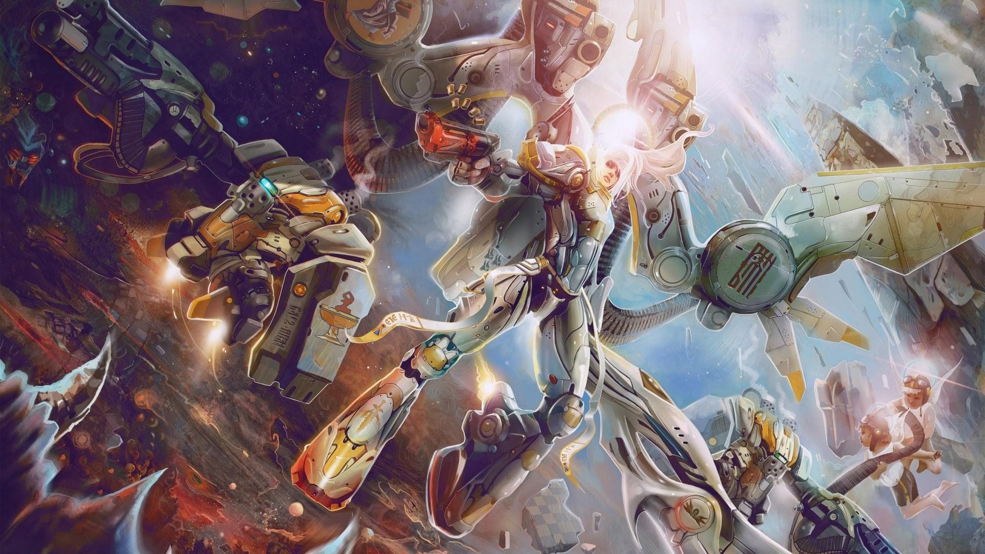 デスクトップ壁紙 女性 ファンタジーアート アニメ ロボット 戦い アートワーク コンセプトアート