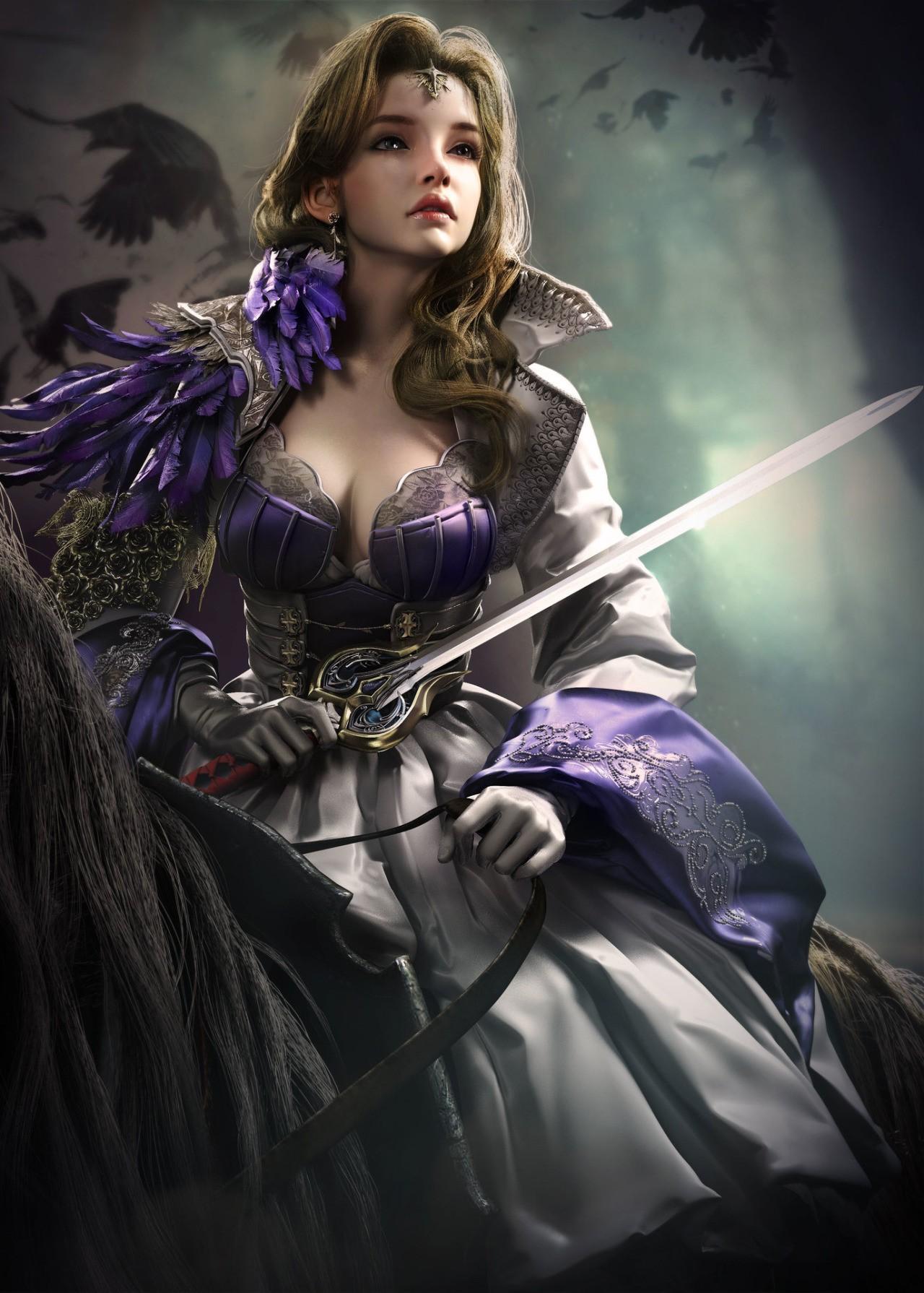 Картинка фэнтези девушка воин