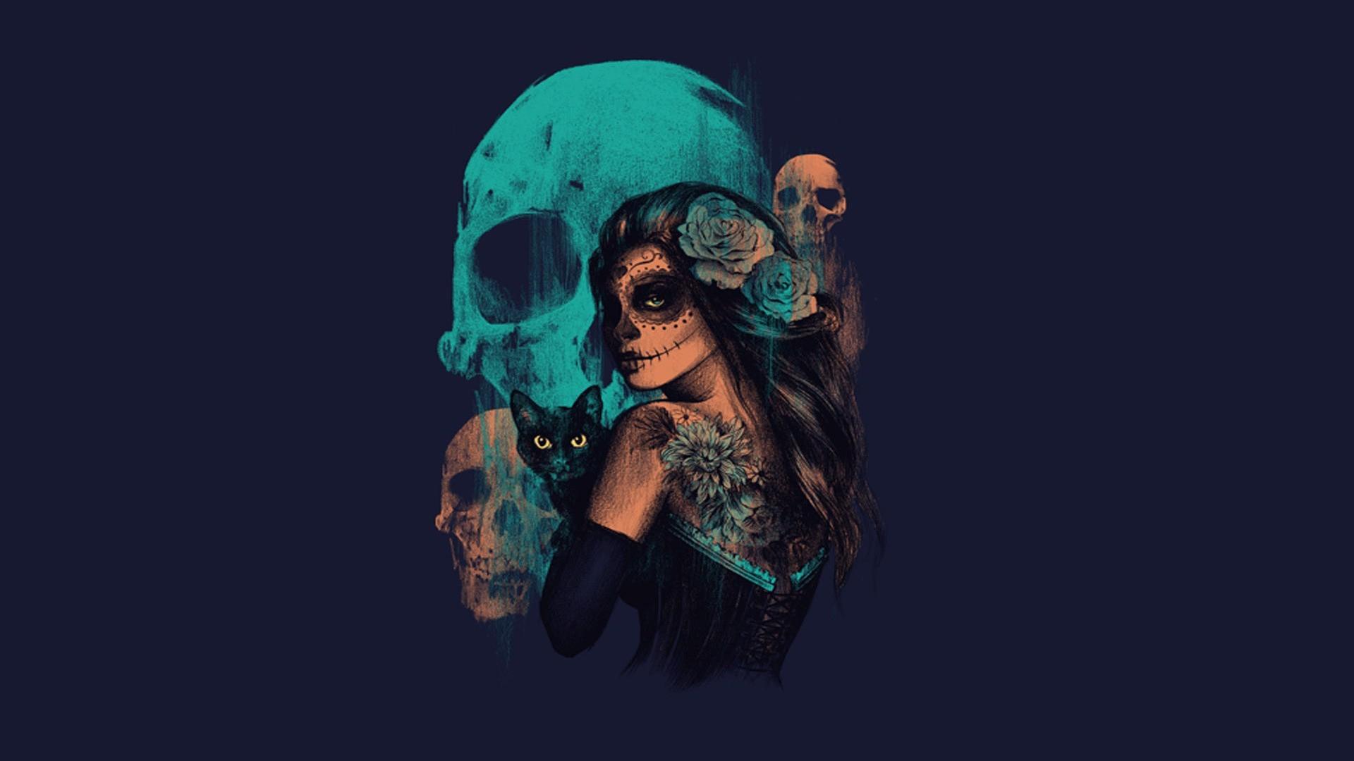 Wallpaper Women Fantasy Art Artwork Blue Skull Sugar Skull