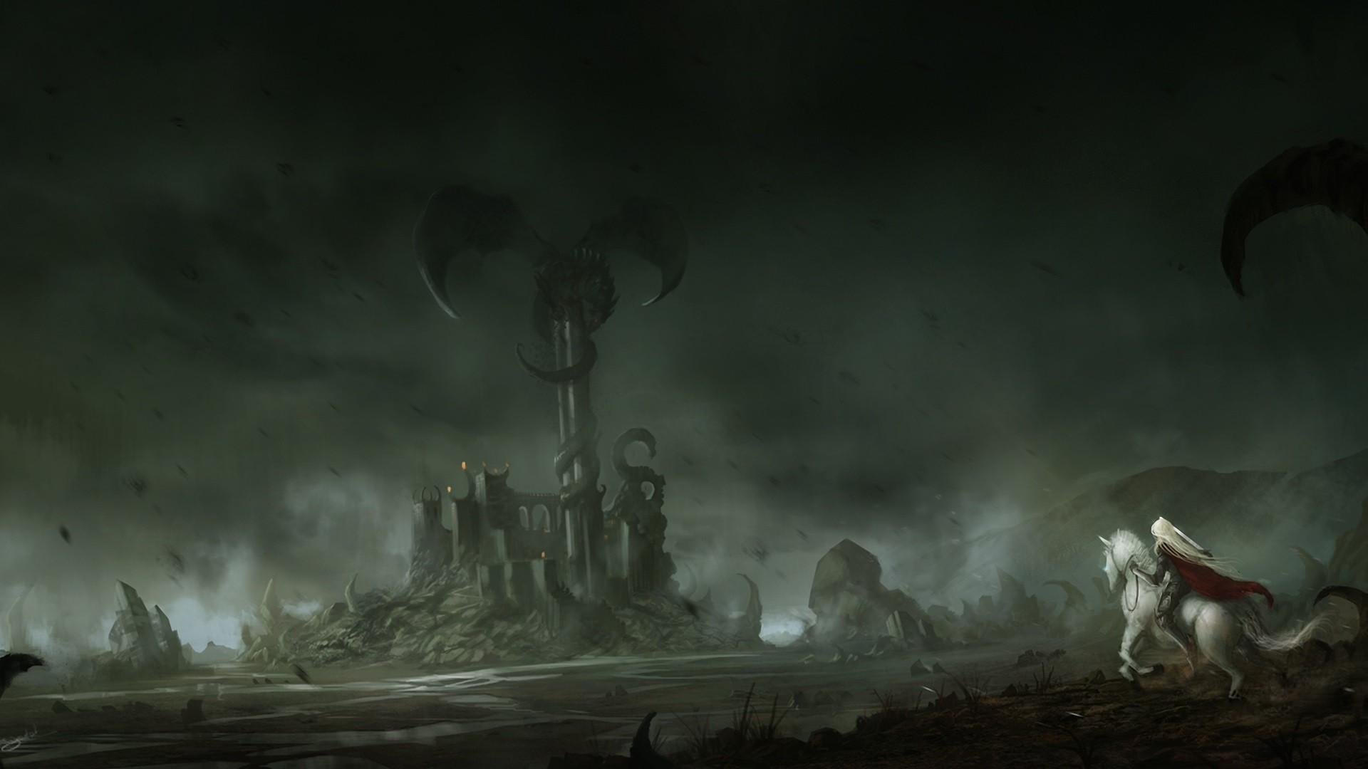 Women Fantasy Art Dark Knight Castle Dragon Warrior Thunder Ghost Ship Darkness Screenshot Computer Wallpaper Fictional