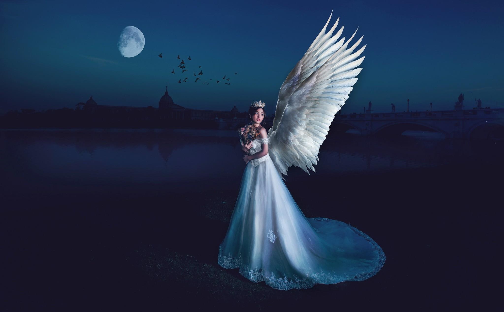 Wallpaper  Women, Fantasy Art, Night, Angel, Blue -9118