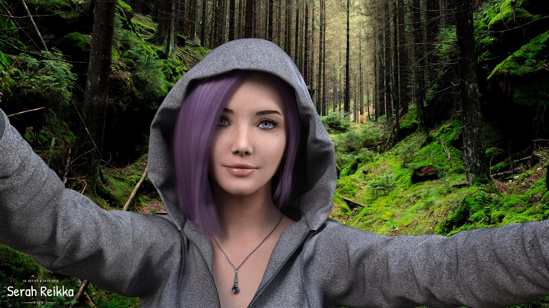 women hoods wood pink hair blue eyes model render CGI 3d design selfies sports white nails 1272045