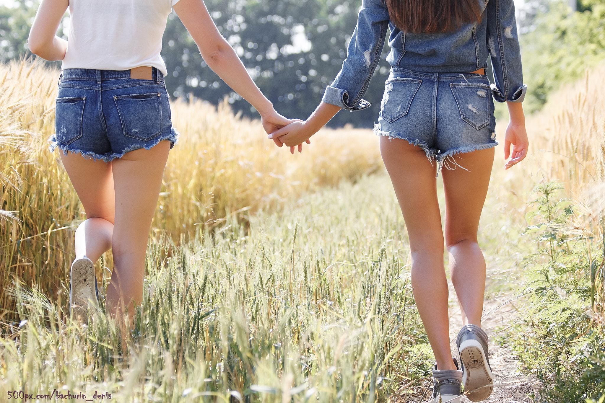 Sexy denim jean shorts holes back stock photo