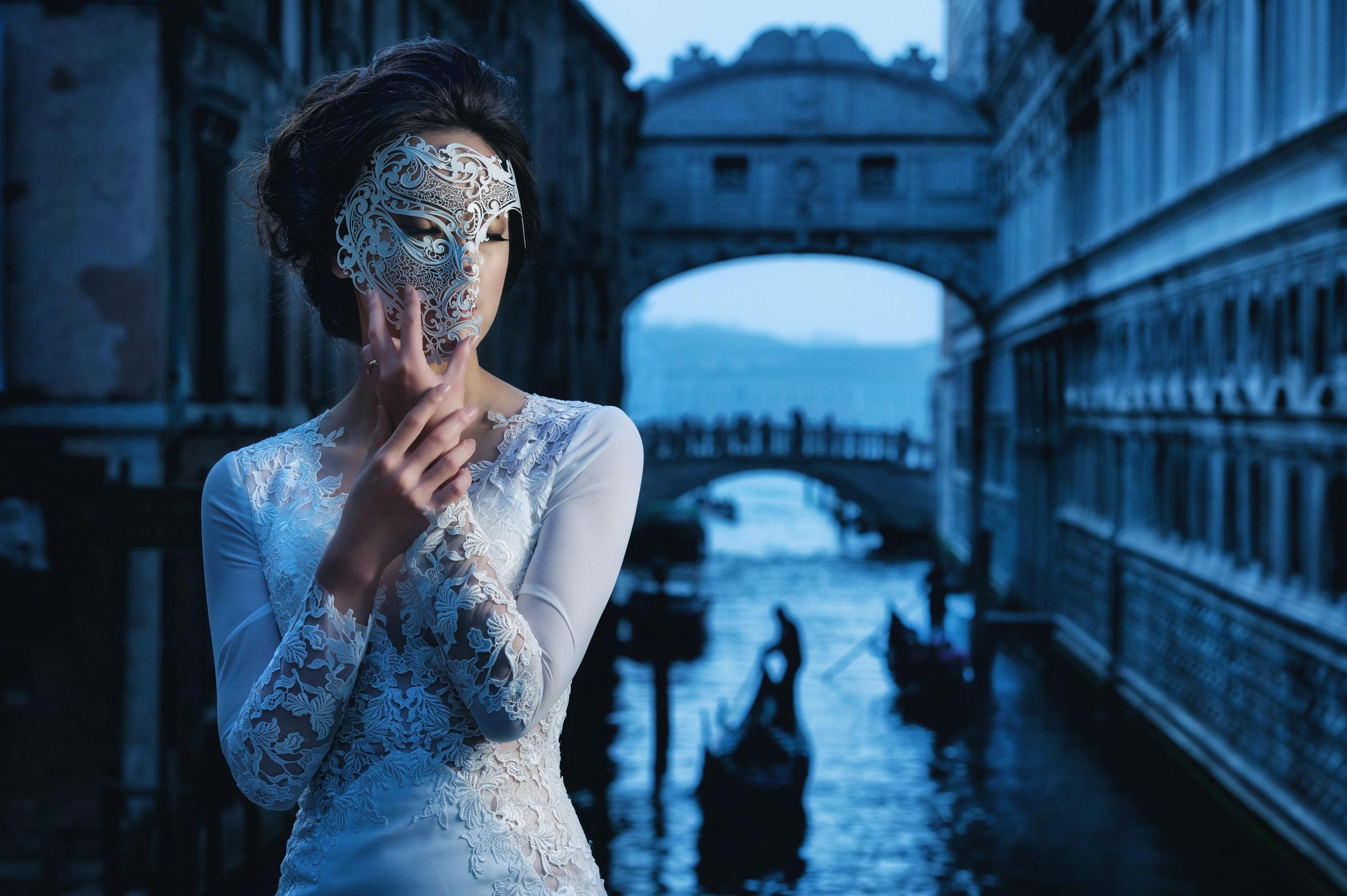 Fondos de pantalla : mujer, modelo, Venecia, máscara, vestir, azul ...