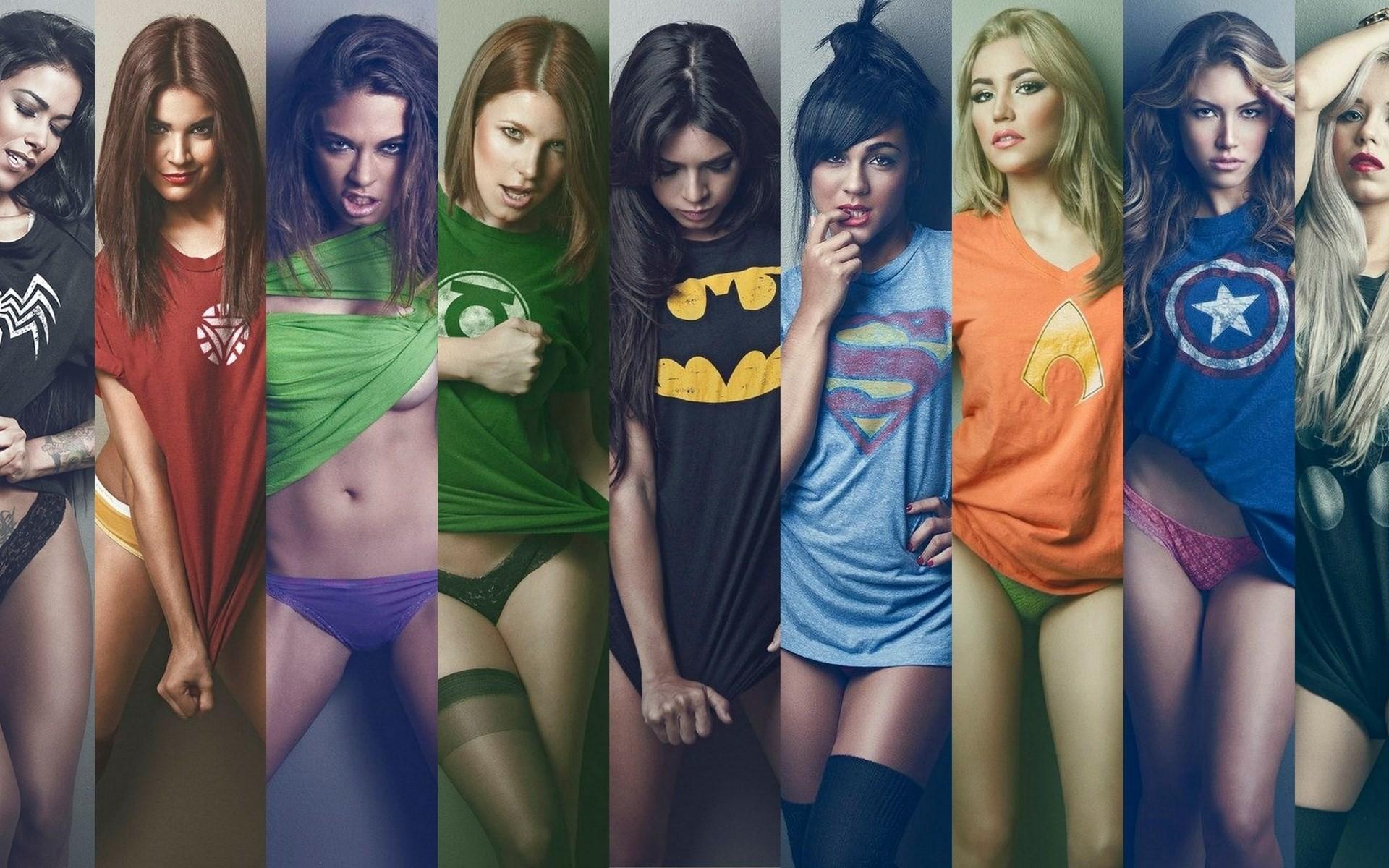 обои на рабочий стол девушки в футболках супергероев № 243114 без смс