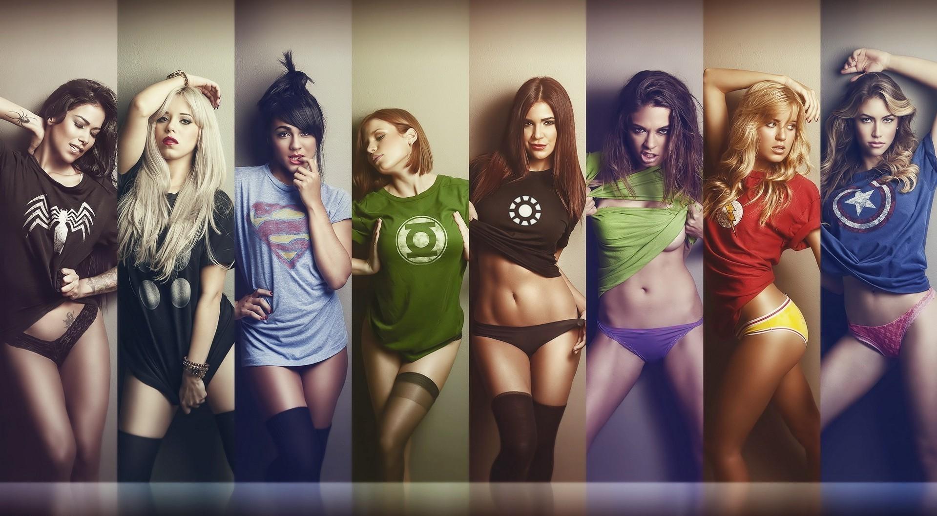 обои на рабочий стол девушки в футболках супергероев № 243098 загрузить