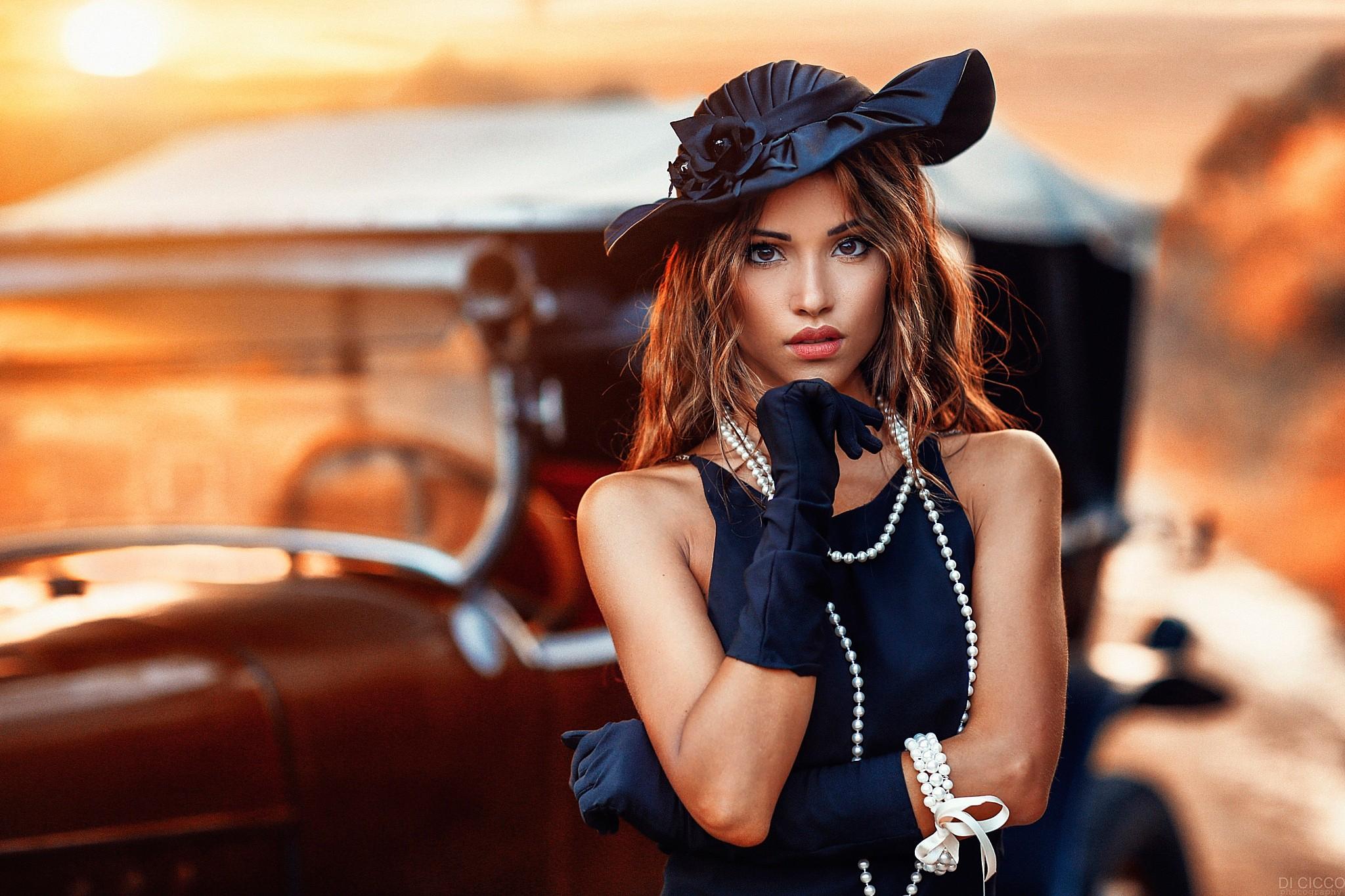 1eb0de681 Wallpaper : women, model, black dress, car, brunette, glasses ...