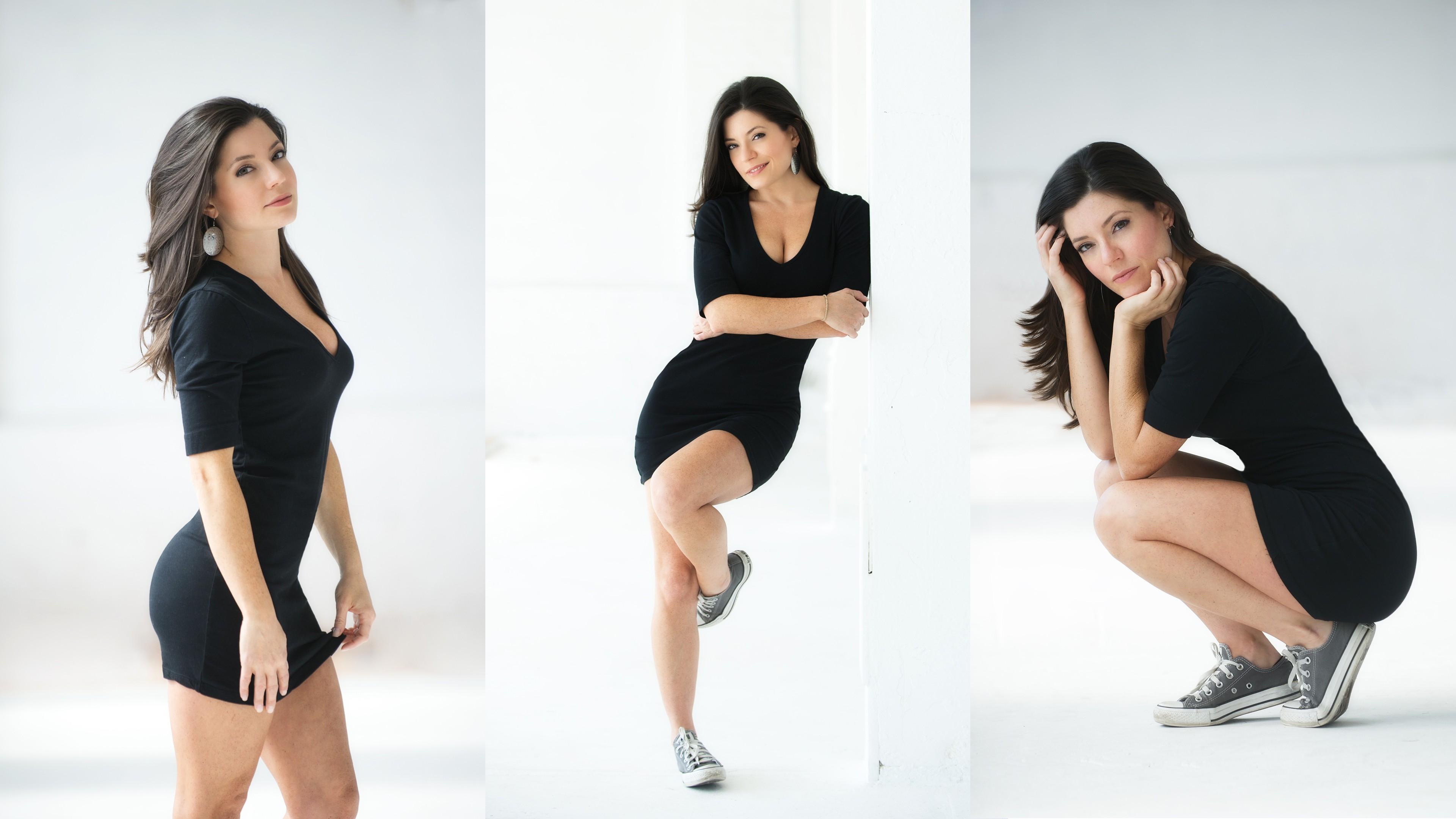 best sneakers 5e33e 5a73d Sfondi : donne, modello, vestito nero, collage, brunetta ...