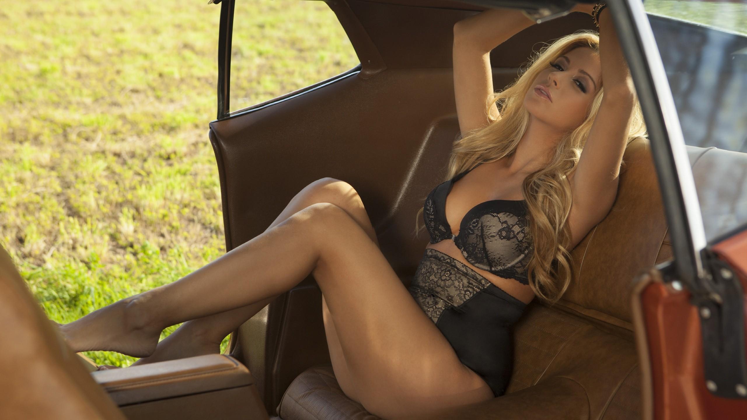 Wallpaper : blonde, long hair, legs, sitting, arms up, car ...