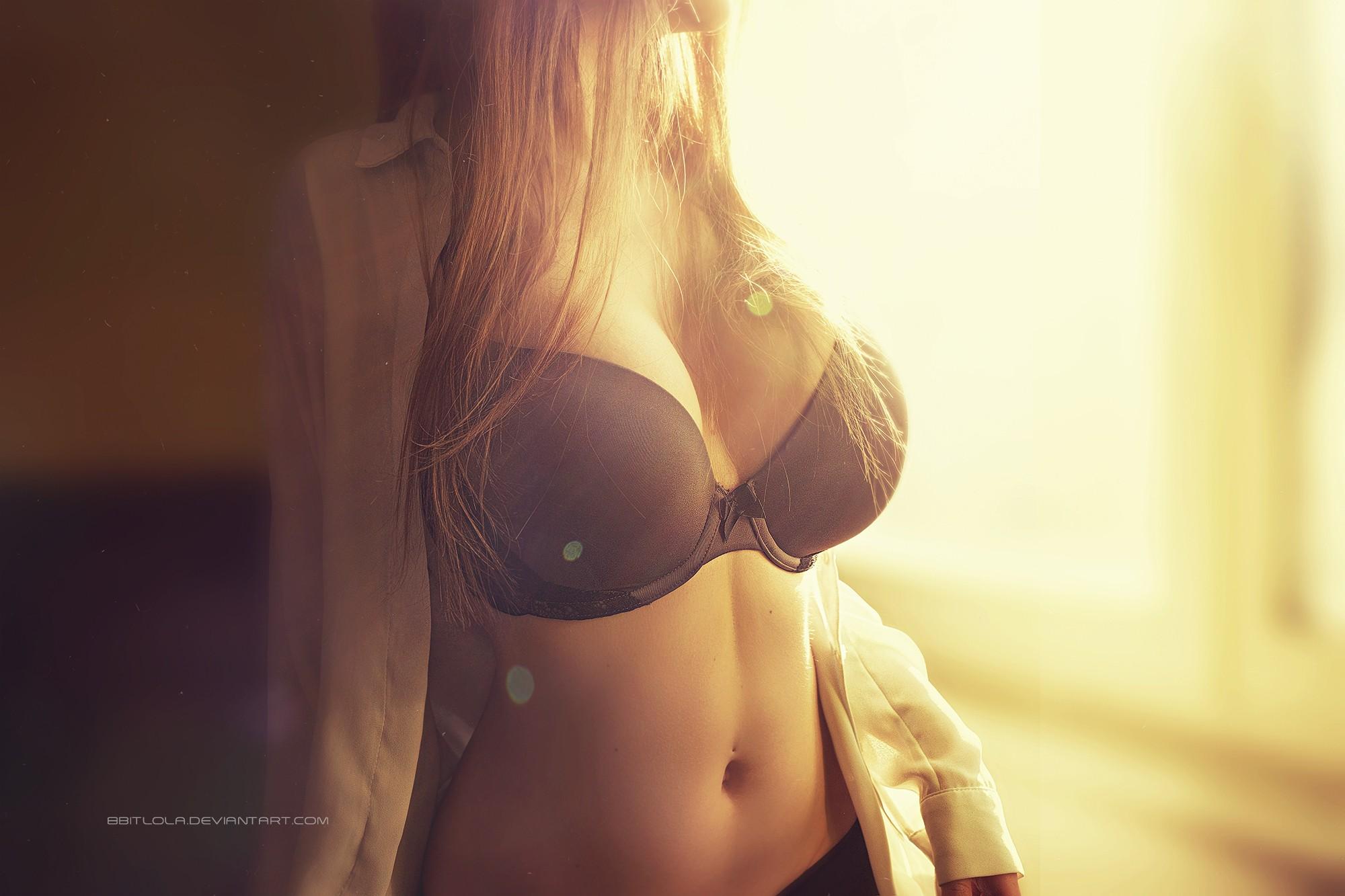 blonde lady in denim dress upskirted