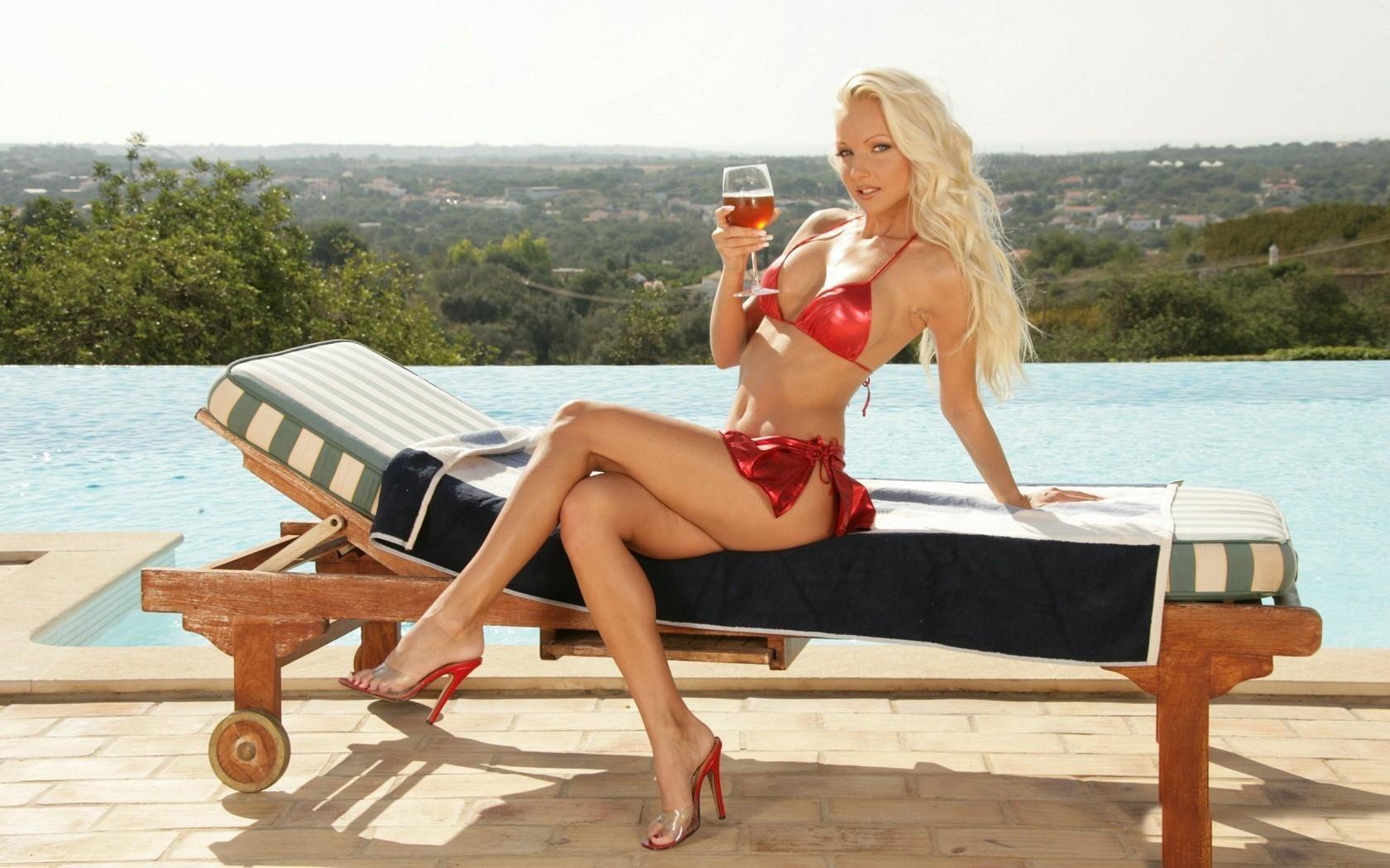 Bikini blonde high heels hot