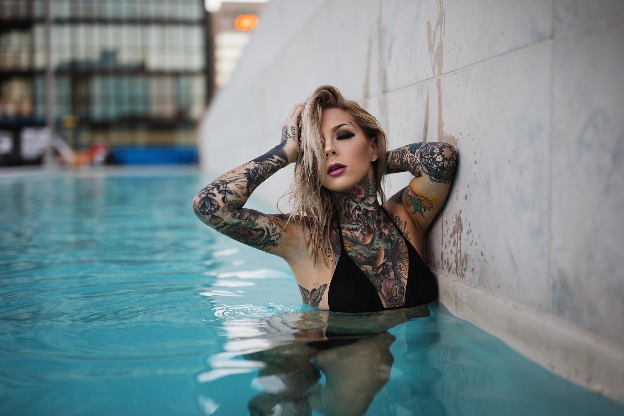 Tattoo Bikini: Hintergrundbilder : Frau, Modell-, Blond, Fotografie