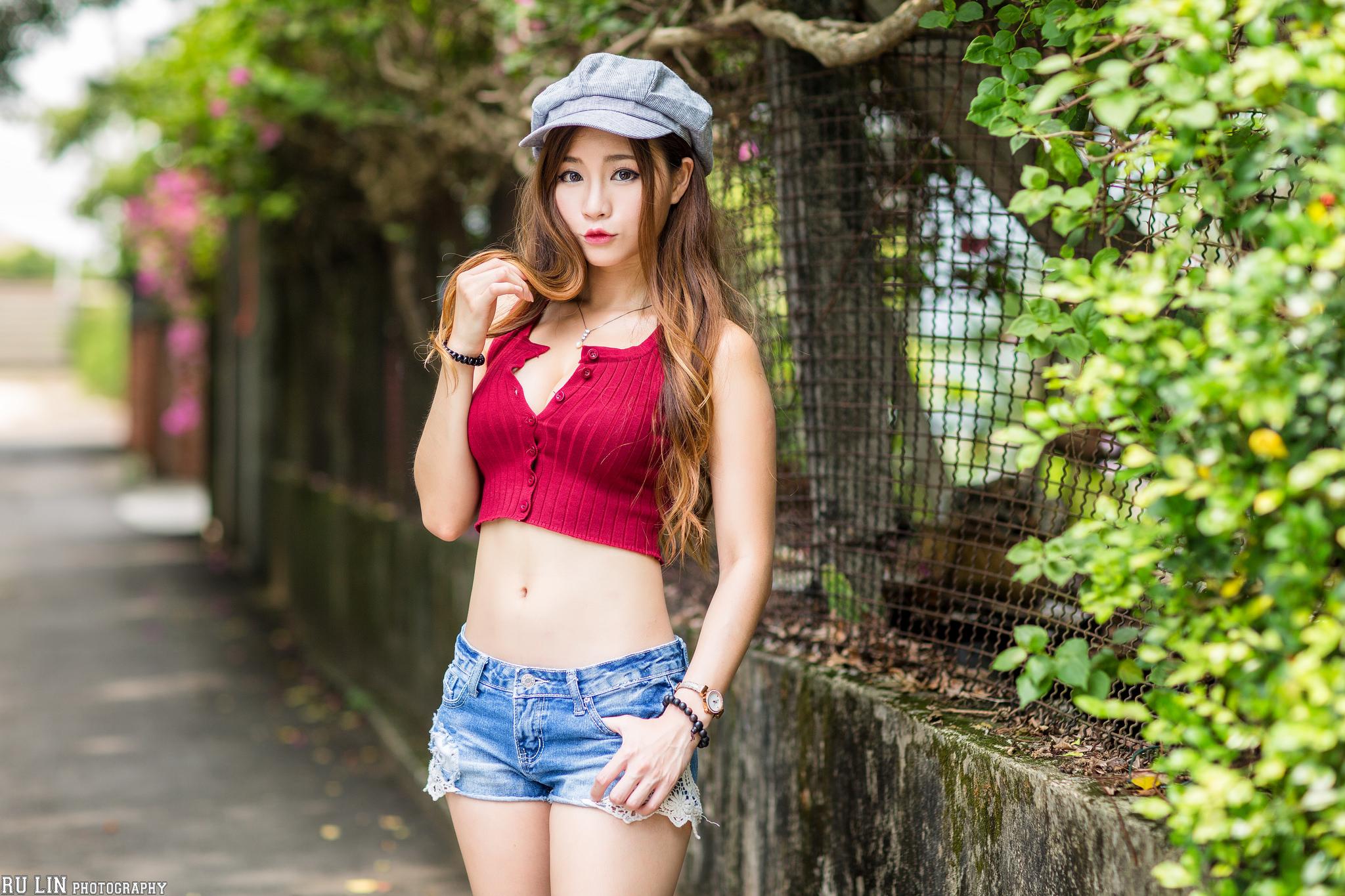 Wallpaper : model, brunette, Asian, portrait, berets