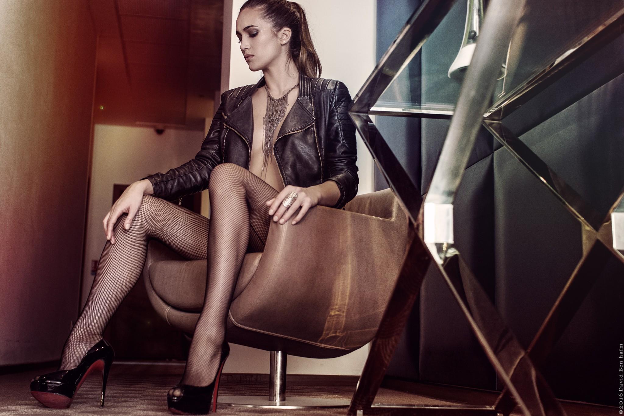 Wallpaper : women, model, brunette, sitting, high heels, necklace,  pantyhose, chair, leather jackets, fashion, no bra, David Ben Ha m, small  boobs, ...