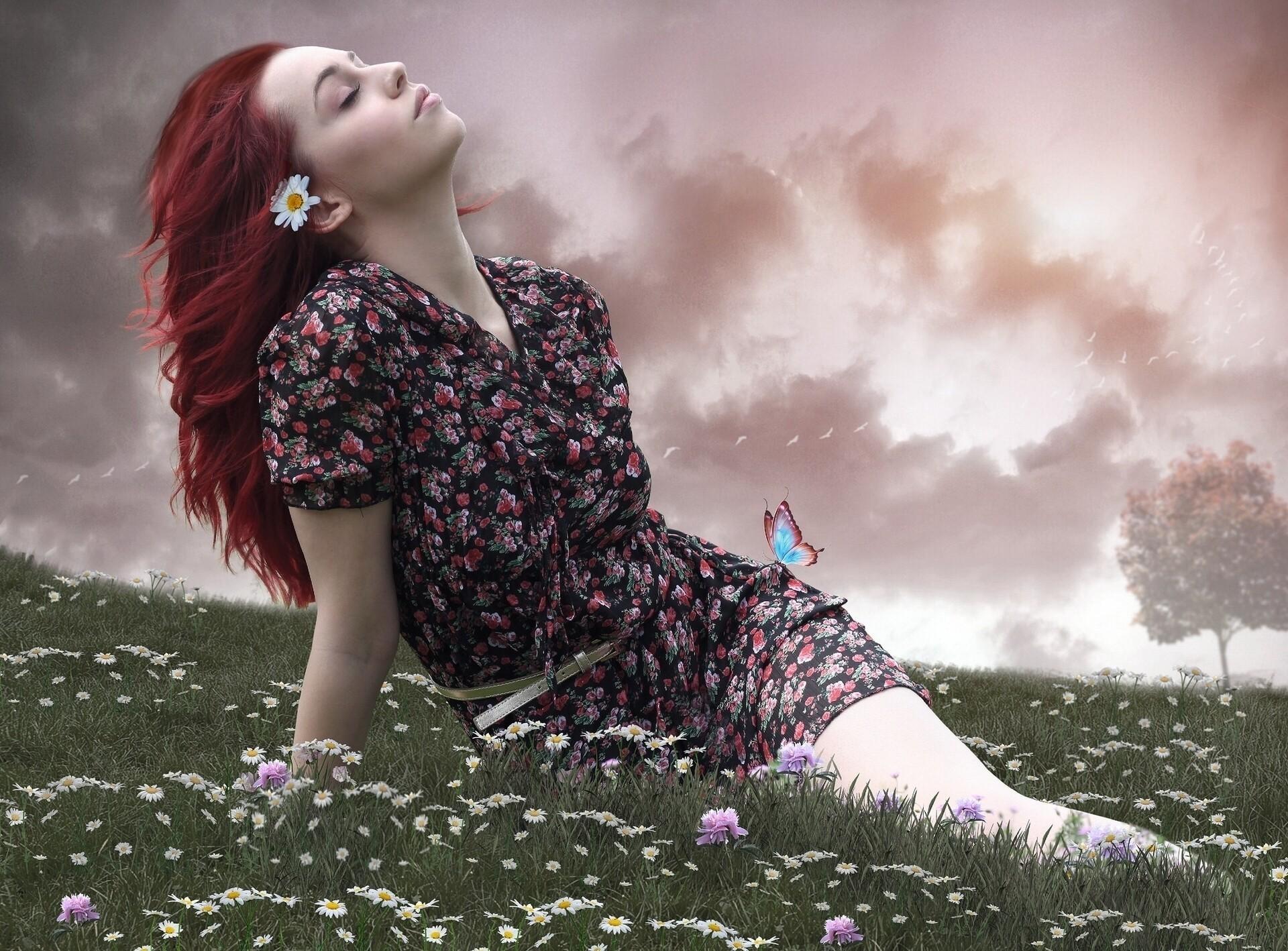 Wallpaper  Women, Model, Fantasy Art, Flowers, Love, Red -4593