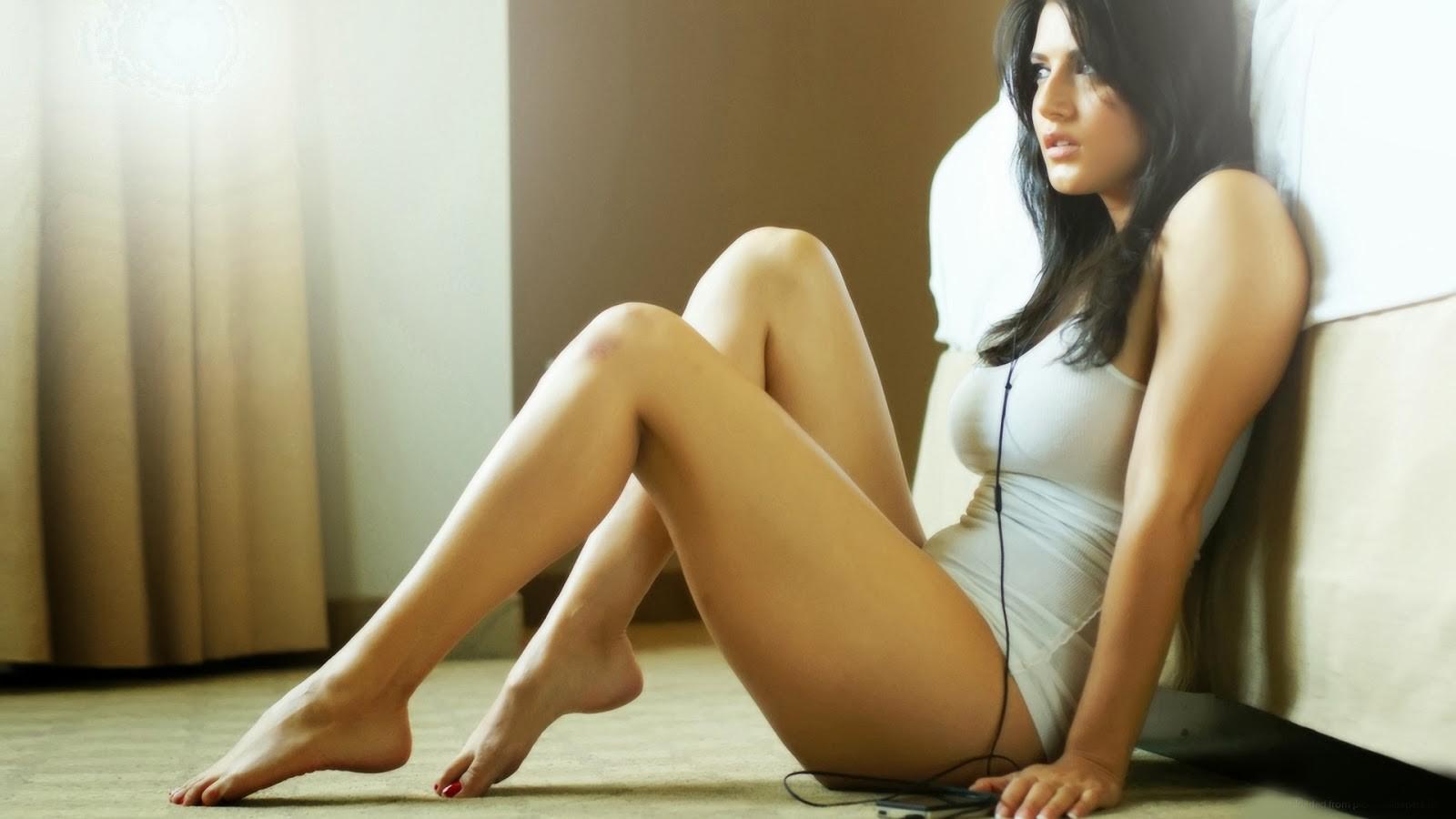 Beautiful cute sexy girl alone home stock photo