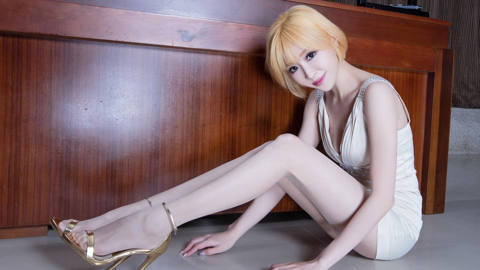 miniskirt high heels asian