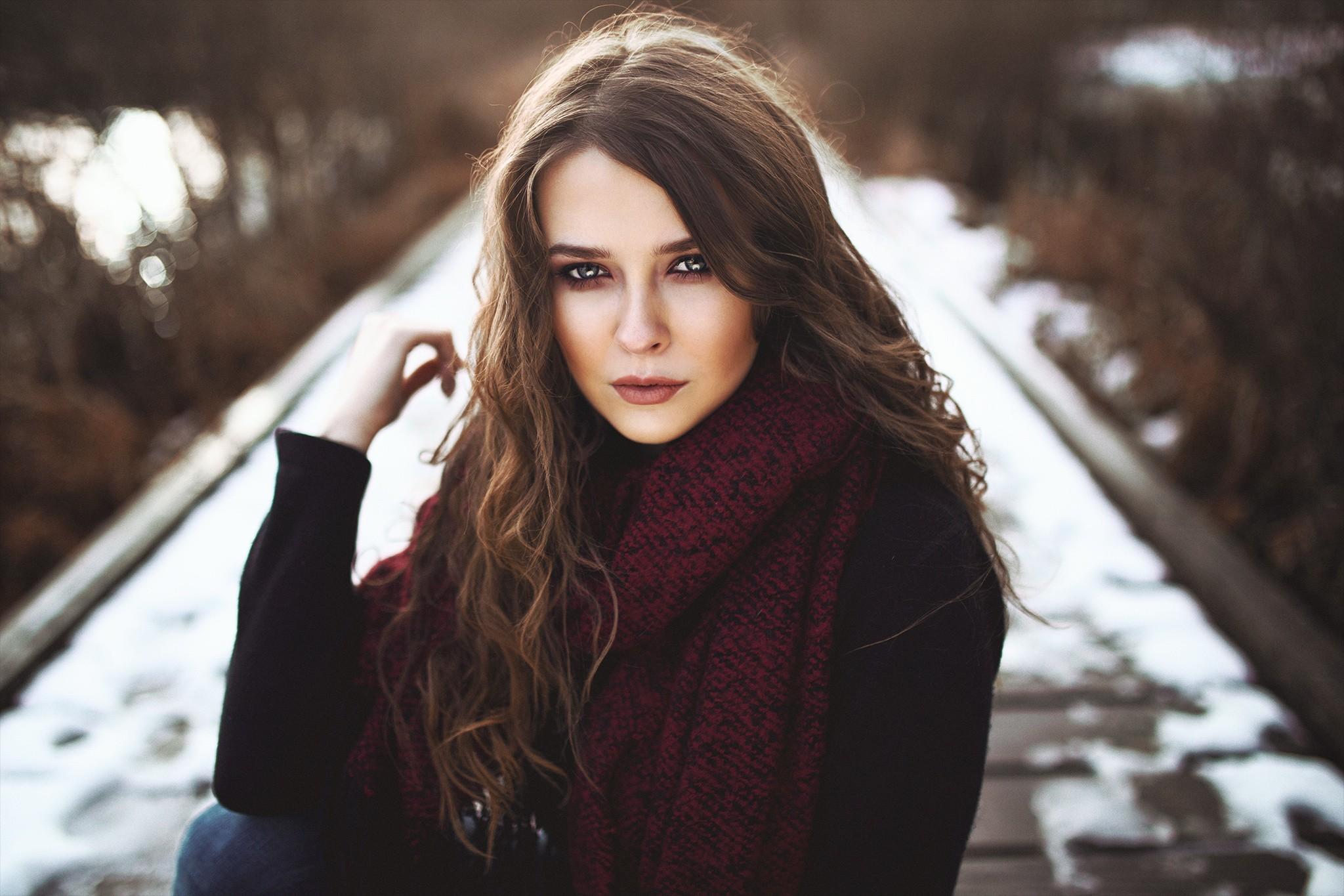 Wallpaper : women outdoors, long hair, blue eyes, brunette