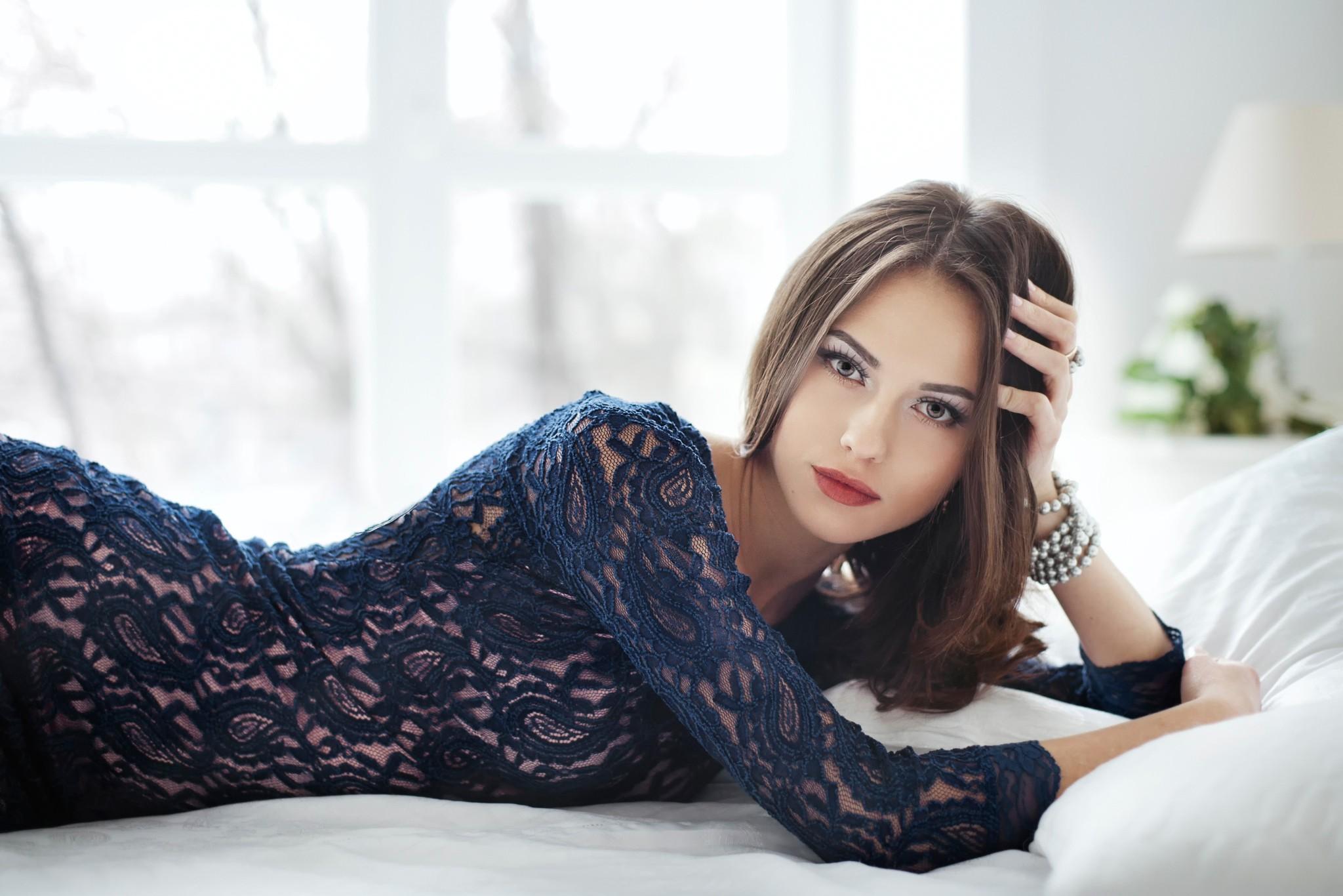 Wallpaper  Women, Model, Long Hair, Blue Dress, Brunette -6086
