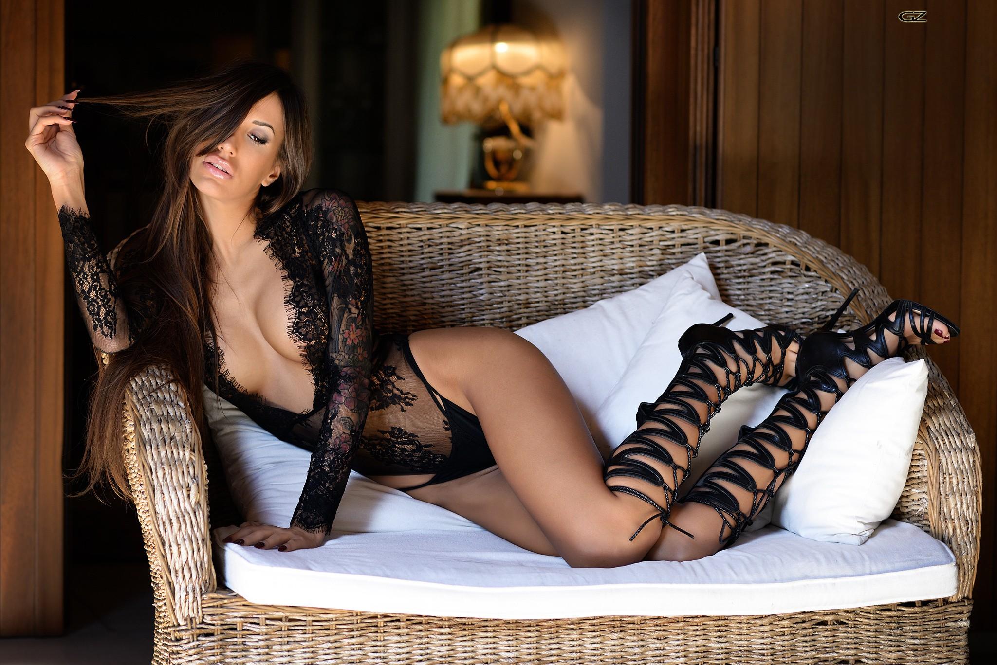 Gorgeous brunette girl posing