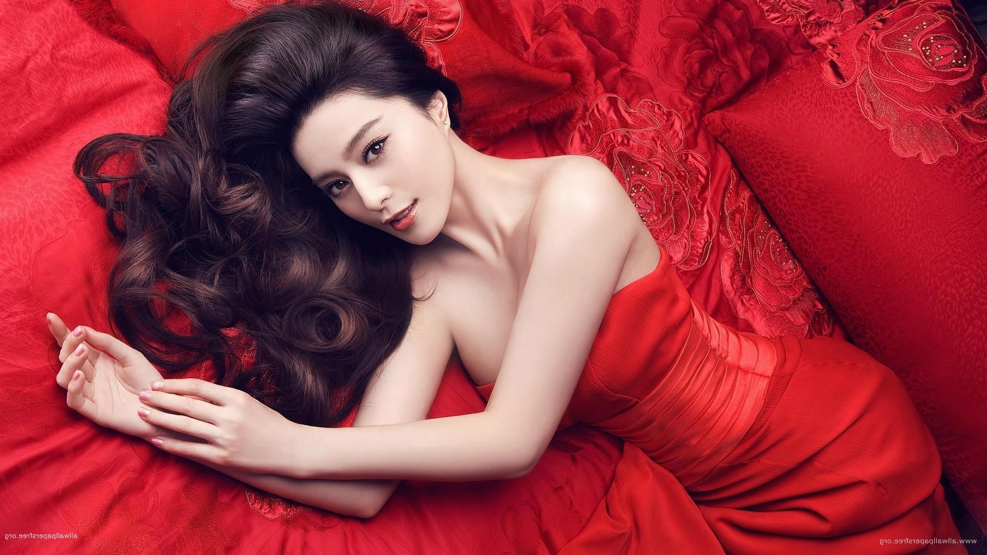 wallpaper : women, model, long hair, asian, red dress, fashion