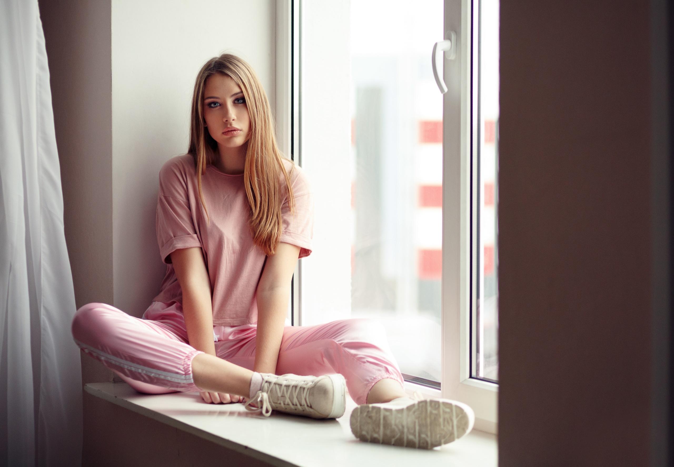 Wallpaper Women Model Sitting Window Evgeniy Bulatov