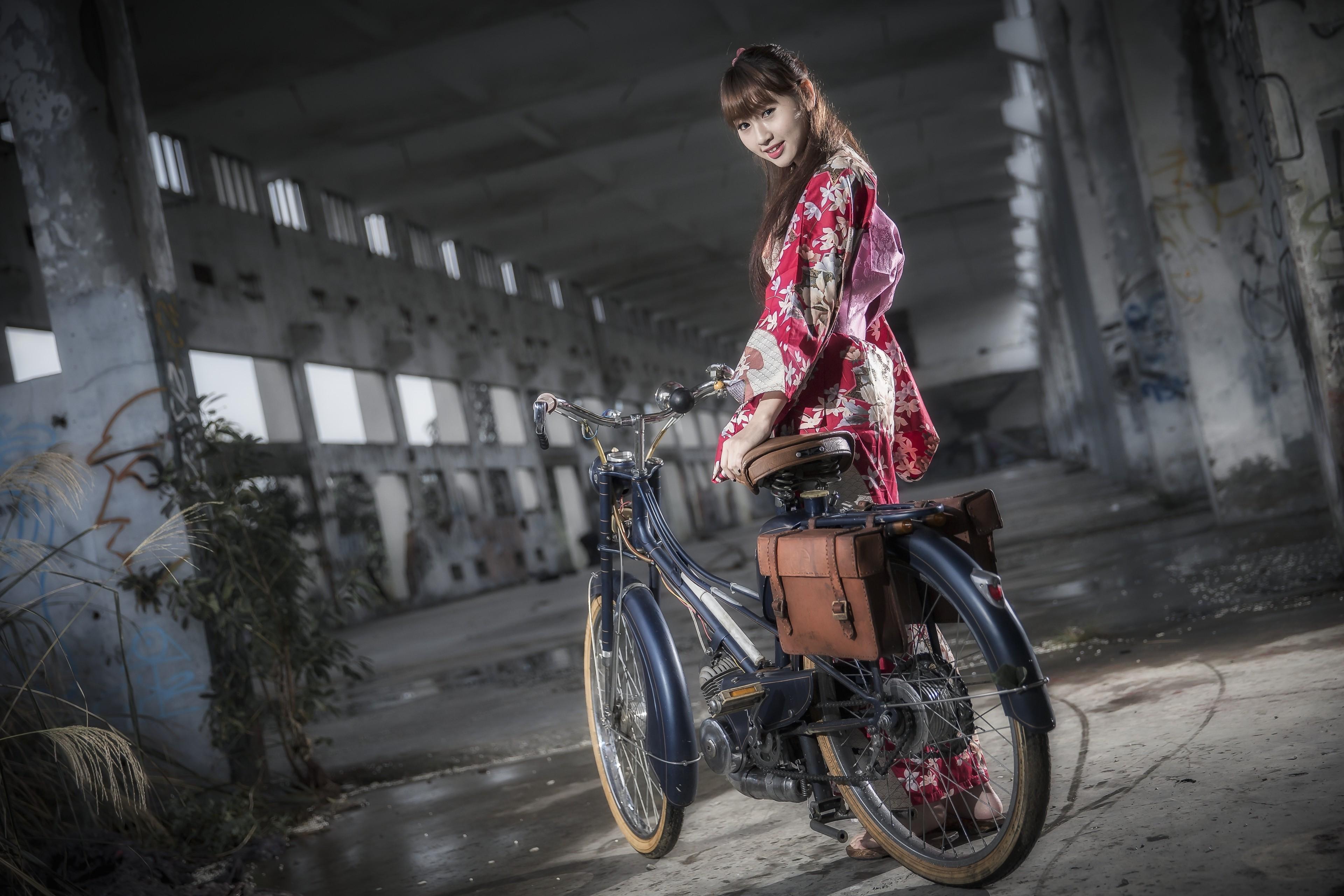 Wallpaper Women Model Street Bicycle Asian Motorcycle