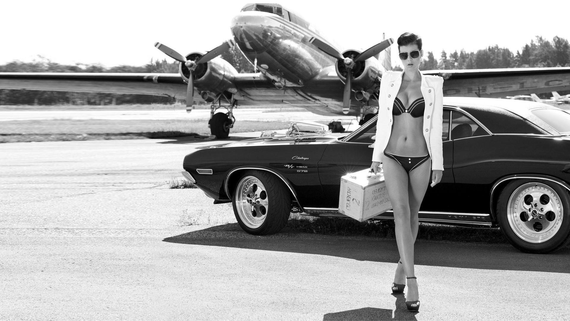 Wallpaper Women With Cars Propeller Lingerie Vintage Car Planes Douglas DC 3 Dodge Challenger R T Wheel Black And White