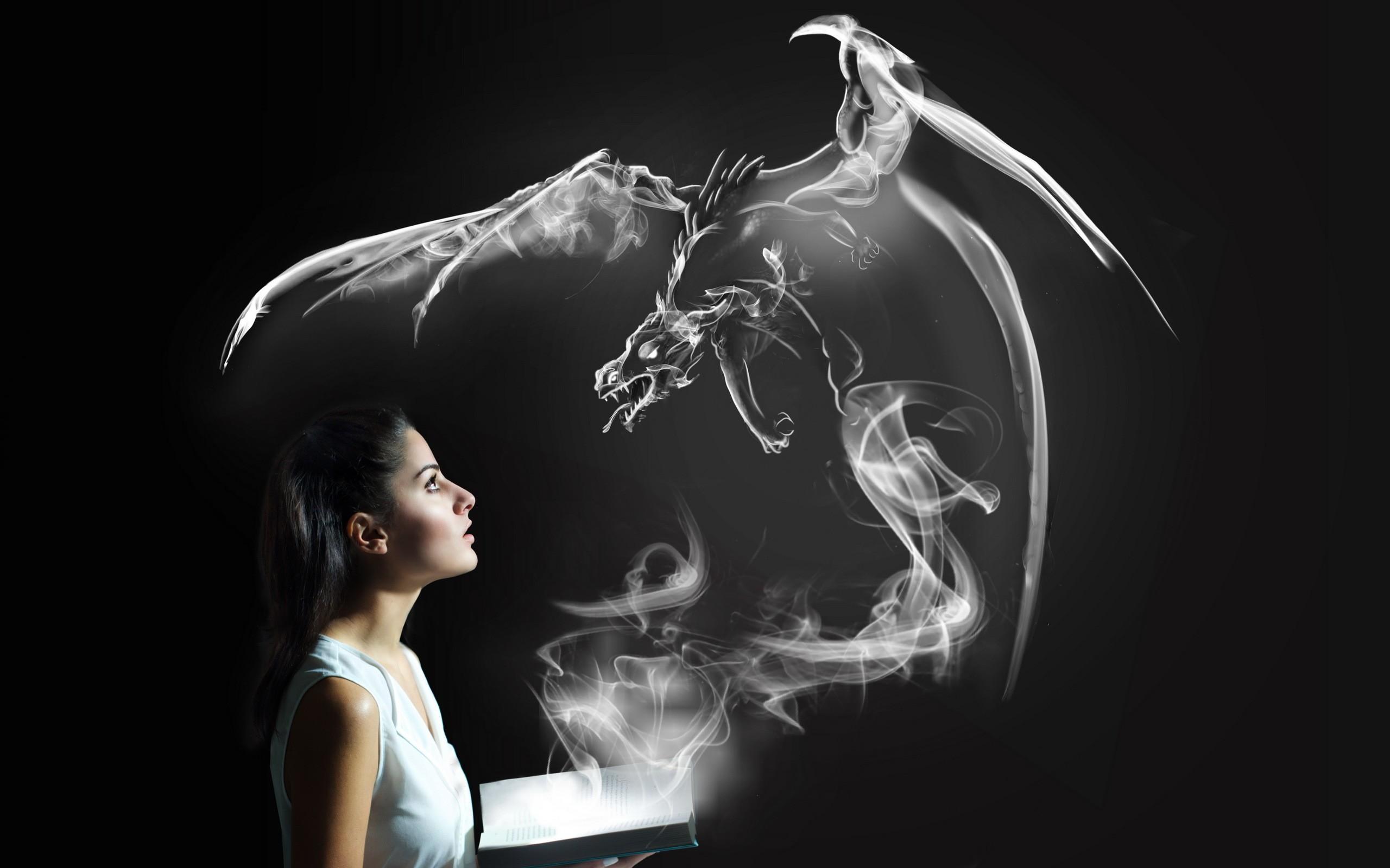 hintergrundbilder frau einfarbig fantasiekunst rauch drachen licht dunkelheit sinn. Black Bedroom Furniture Sets. Home Design Ideas