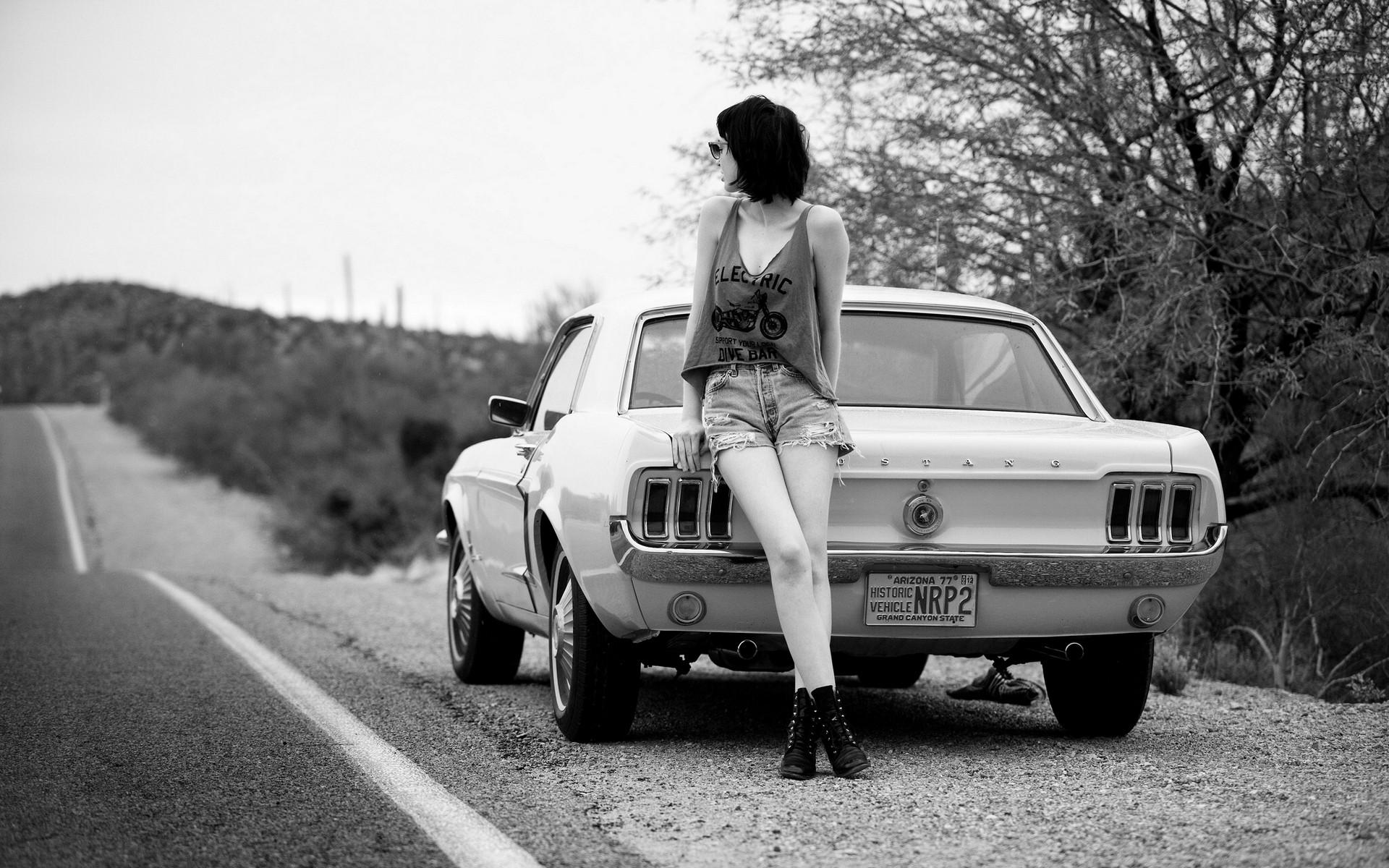 Wallpaper Women Model Black Hair Ford Mustang Sports