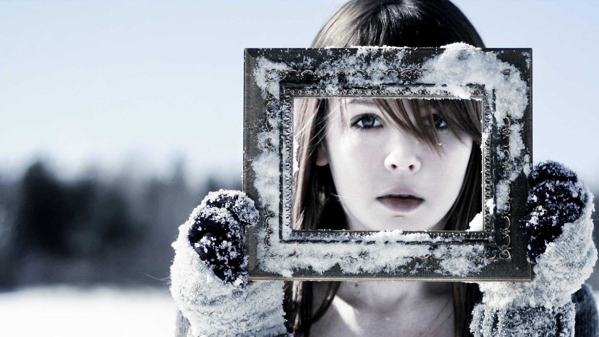 Fondos de pantalla : mujer, monocromo, nieve, invierno, fotografía ...