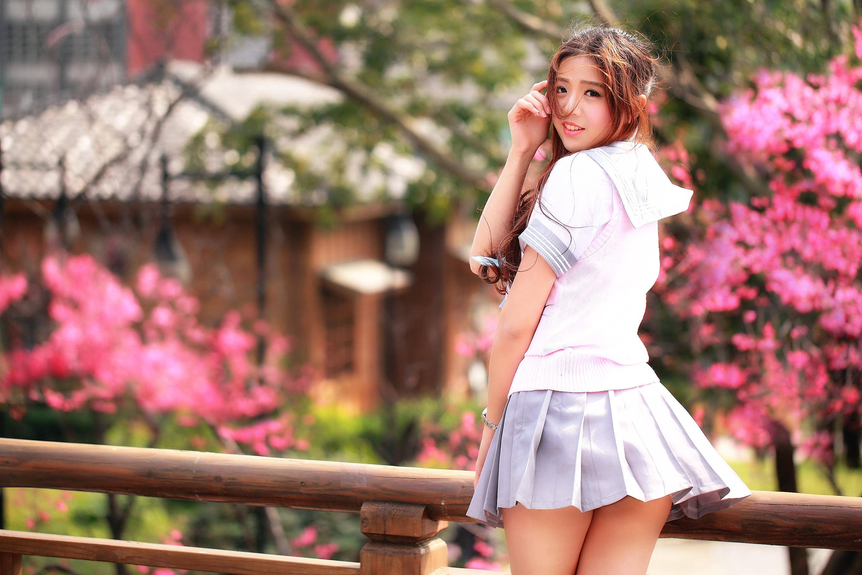femmes uniforme plein Femmes jupe en Fond en asiatique rose Vêtements mode printemps courte regarder arrière maquette d'écran robe air scolaire 7tz7qxwX5