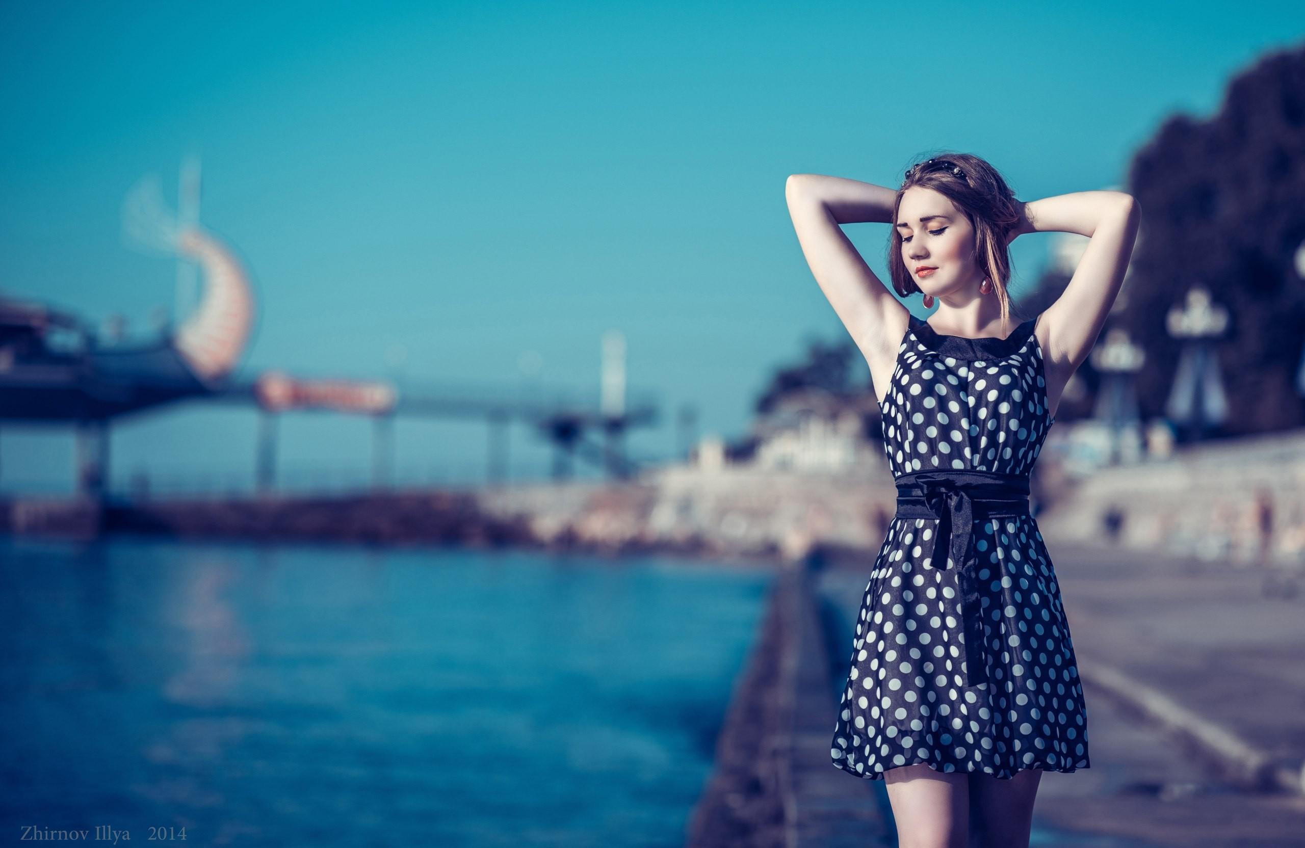 23de252bdf women outdoors women model brunette photography dress blue fashion summer  dress polka dots Ilya Zhirnov girl