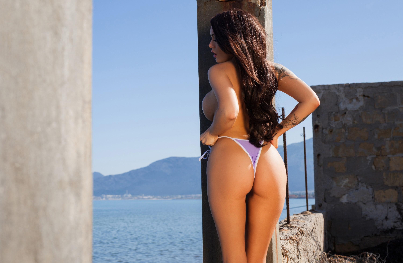 Fondos De Pantalla Mujeres Al Aire Libre Mujer Modelo Pelo Largo Culo Azul Moda Cabello Lenceria Trajes De Bano Ropa Vacaciones Charley Atwell