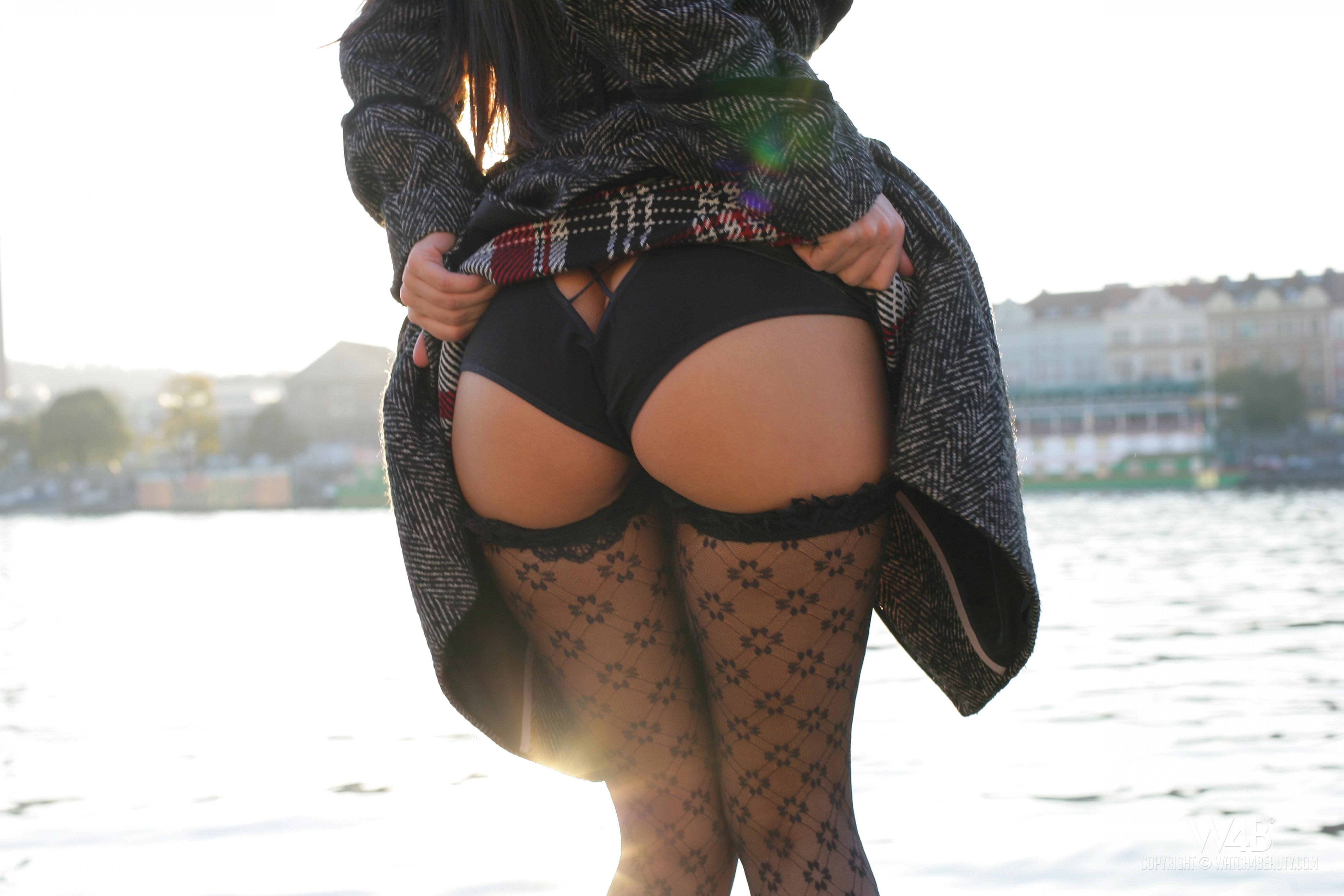 Black pantyhose panties upskirt