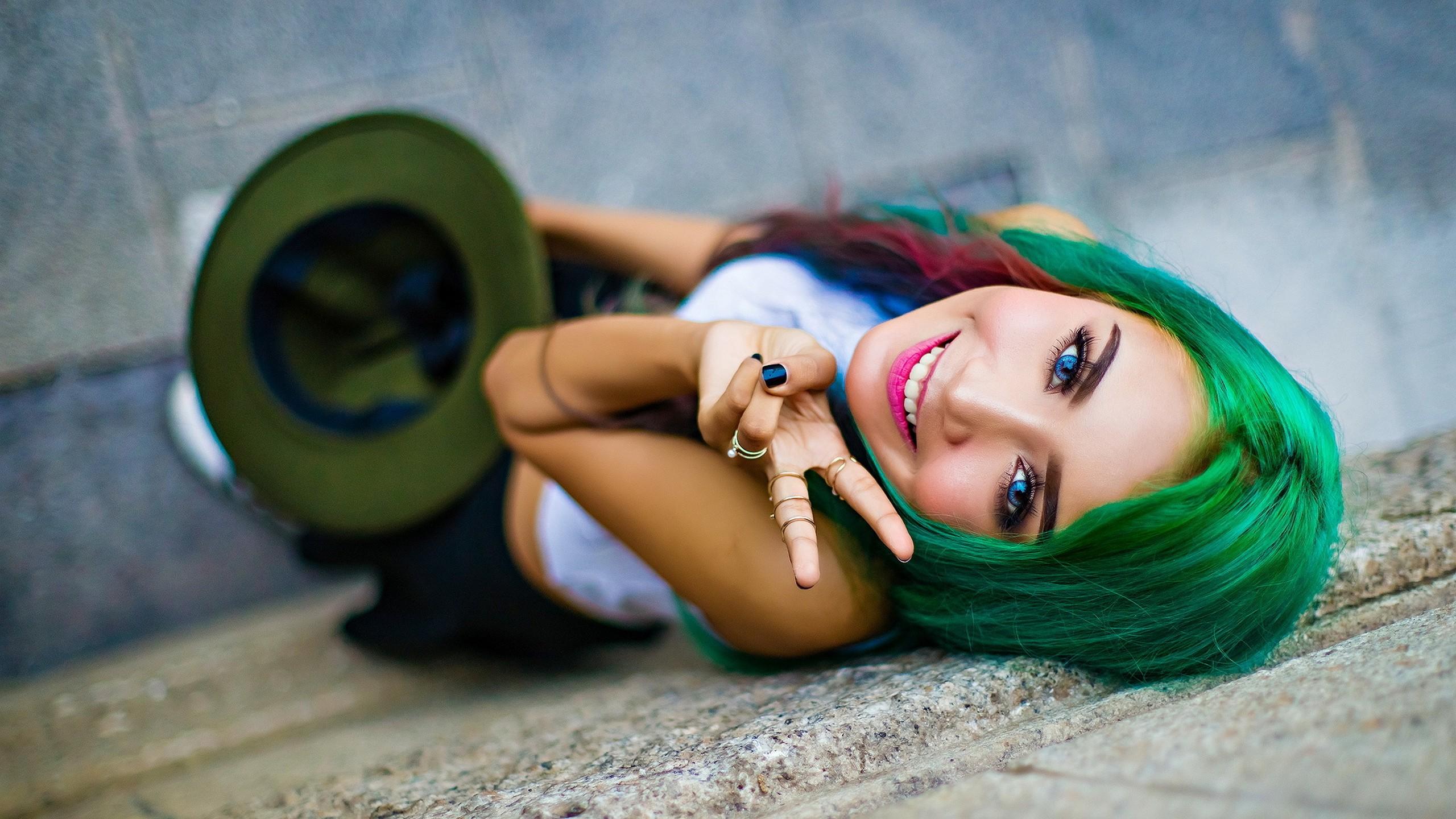 Wallpaper Women Photography Dress Blue Green Hair Toy Skin
